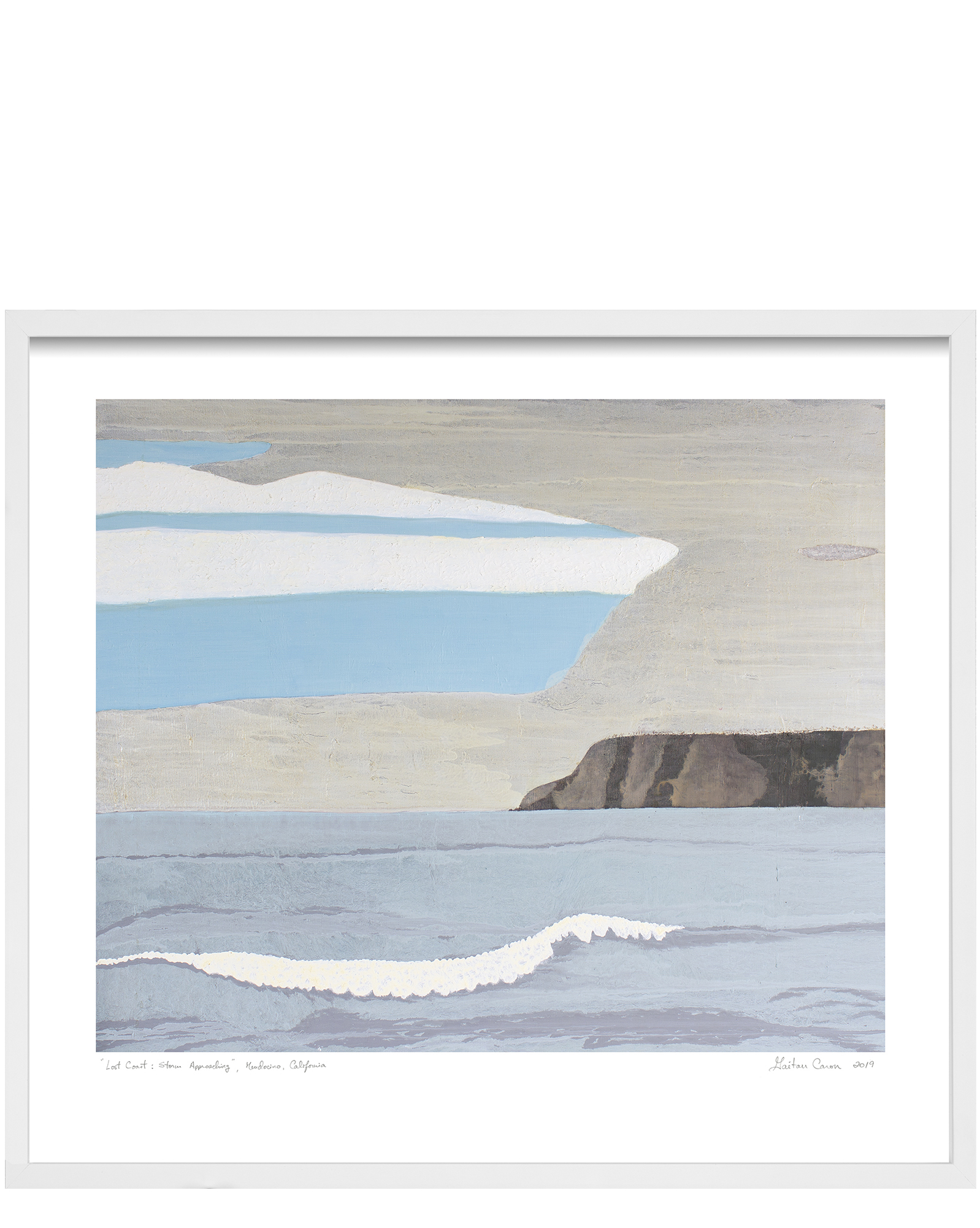 """Lost Coast: Storm Approaching"" by Gaetan Caron, White Frame"
