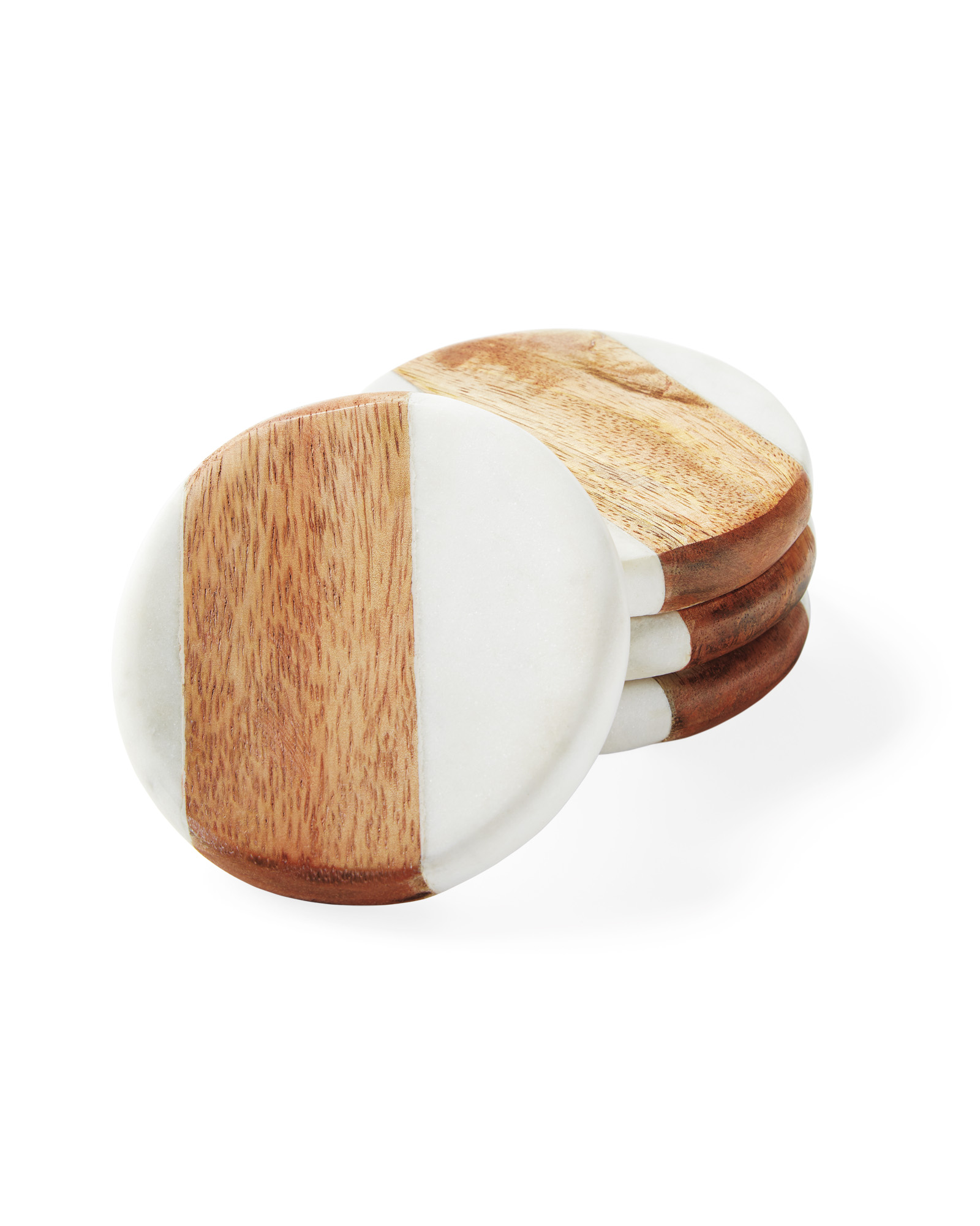 Wood and Marble Coasters (Set of 4),