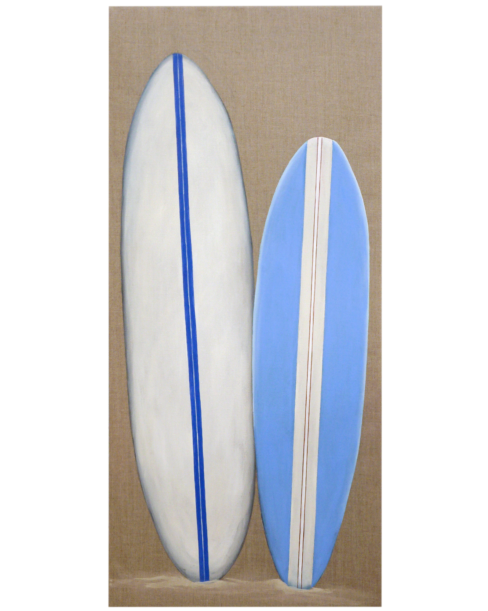 "Pair of Surfboards on Linen"" by Carol Saxe,"