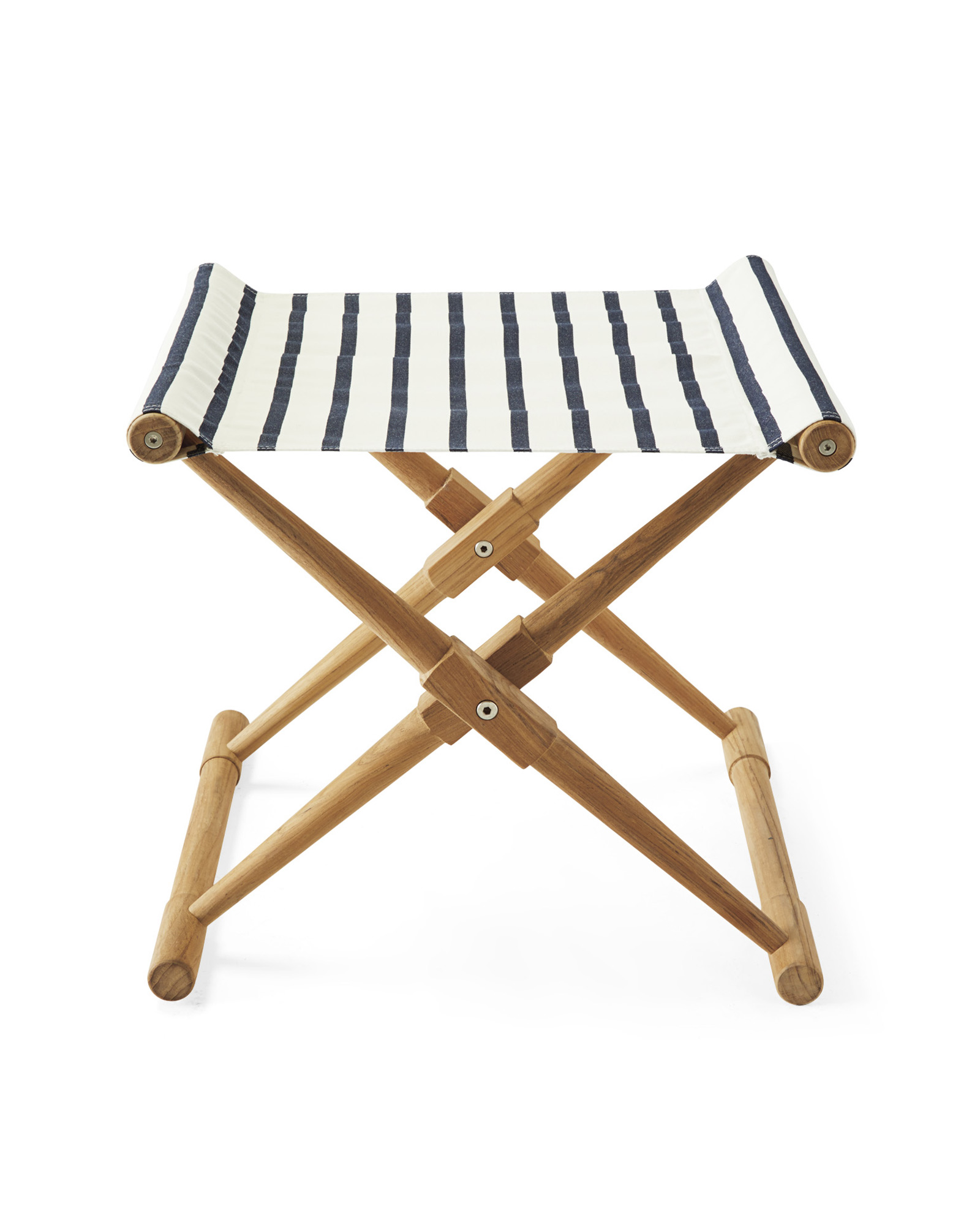 Teak Camp Stool, Lido Stripe