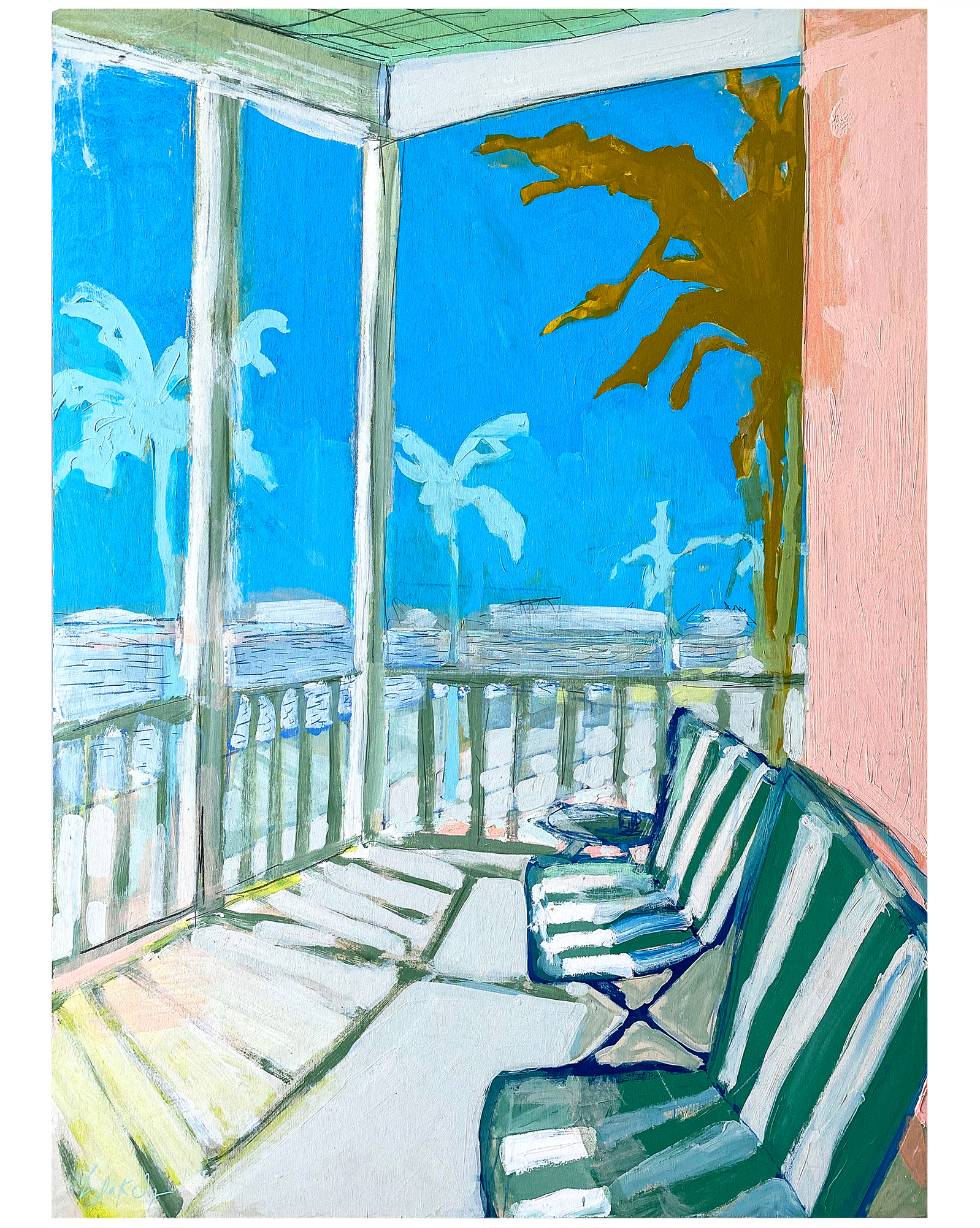 Bliss on a porch by Blakely Made - a painting available through Serena & Lily. #charleston #porches #painting #homedecor #artwork #walldecor