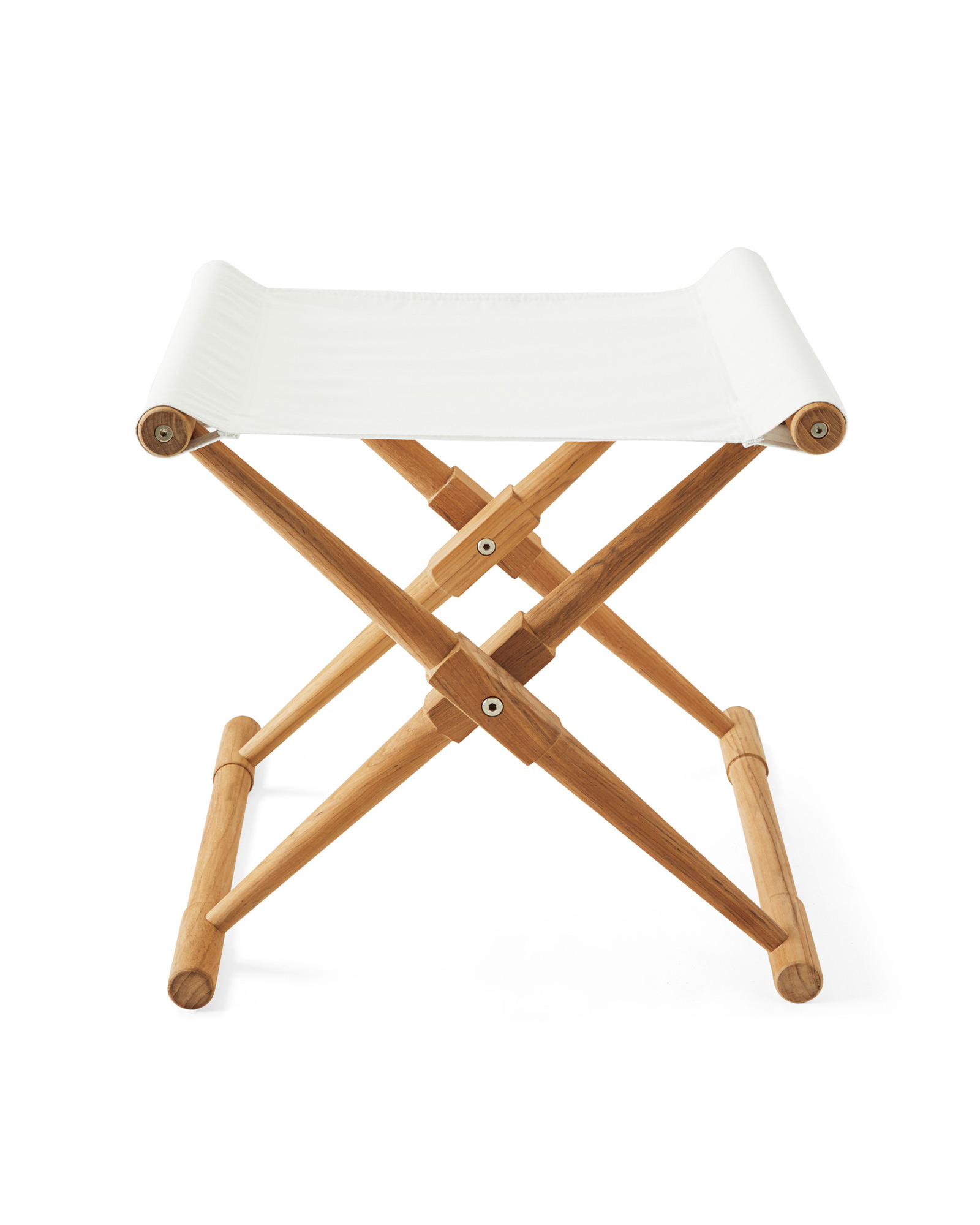 Teak Camp Stool, White