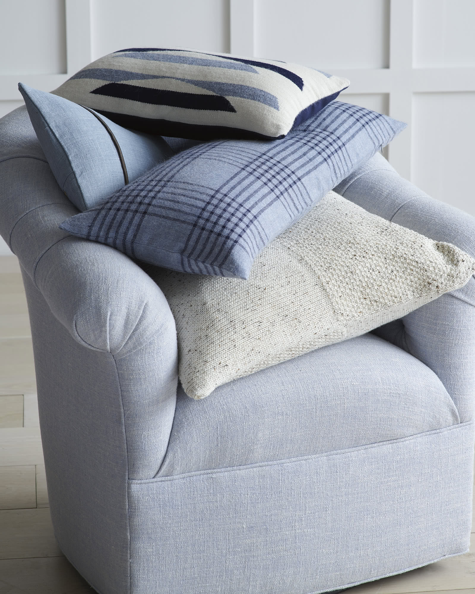 Rosewood Pillow Cover, Navy/Sky