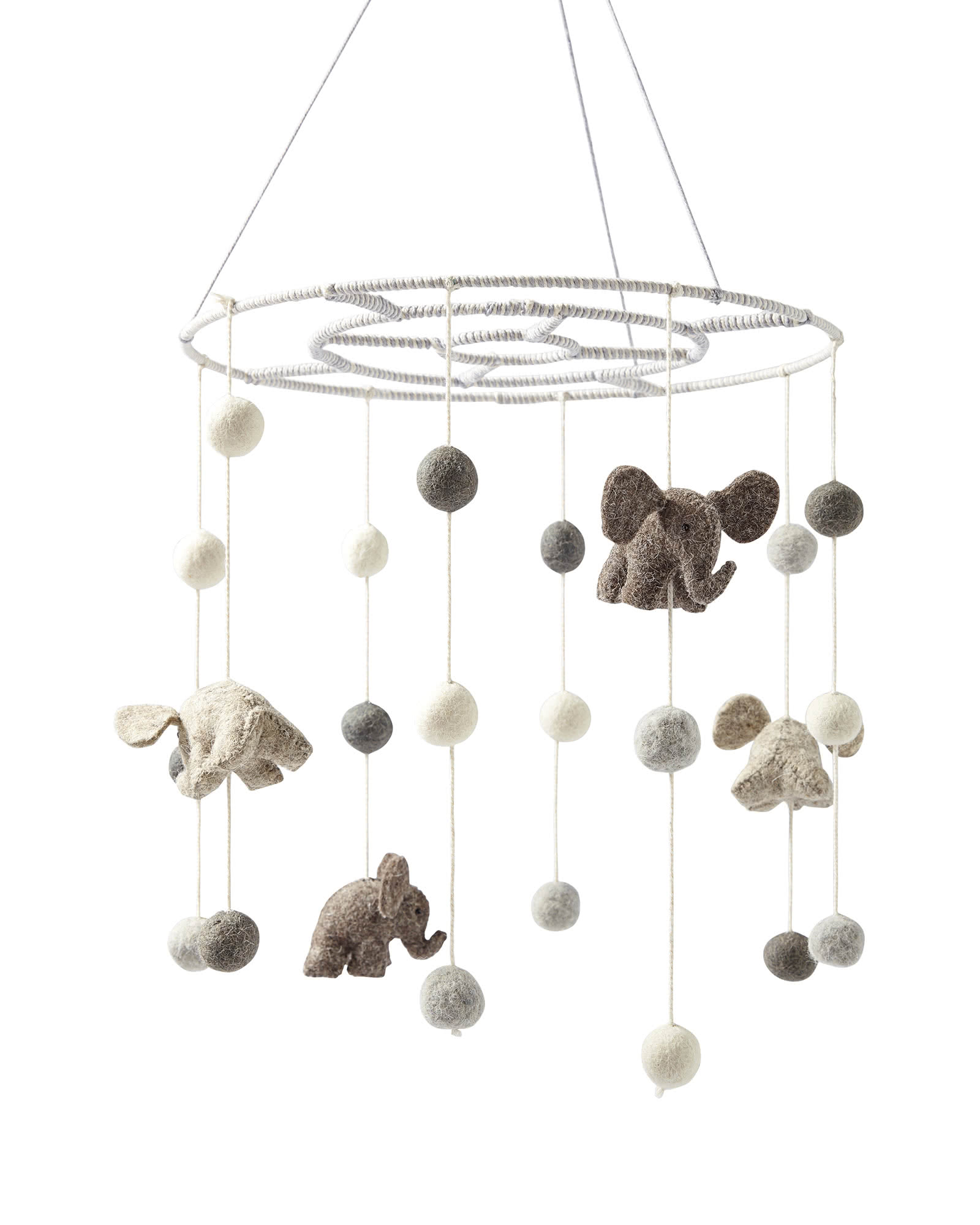 Felted Wool Animal Mobile – Elephants,