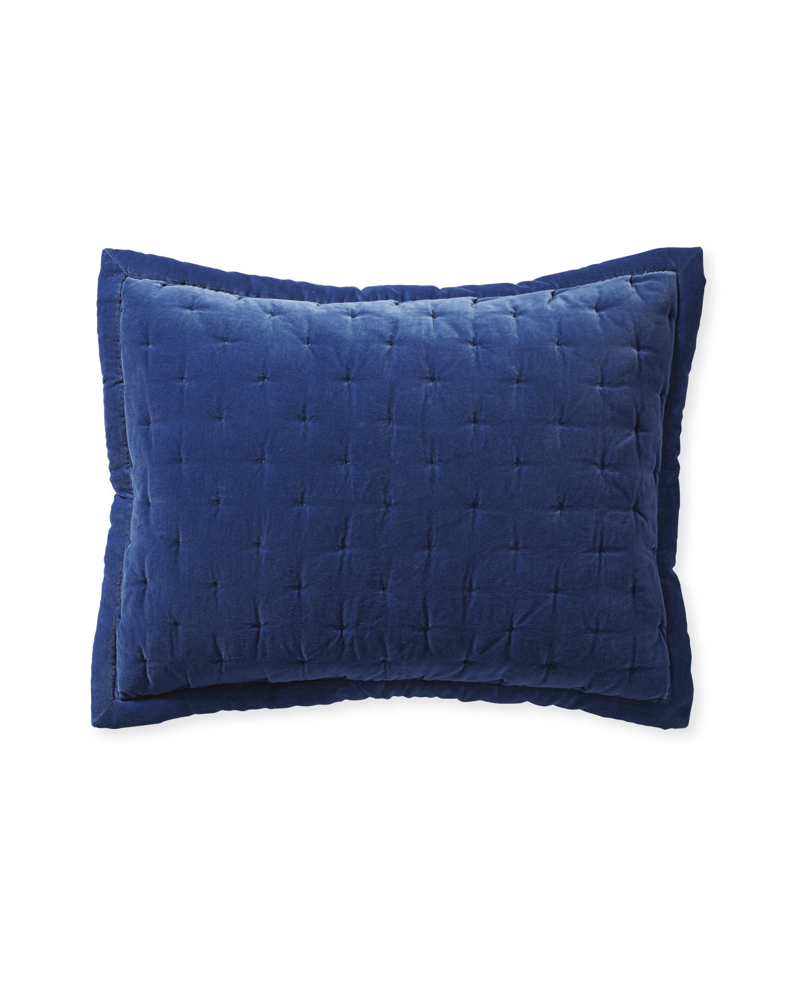 Sutter Velvet Quilted Shams, French Blue