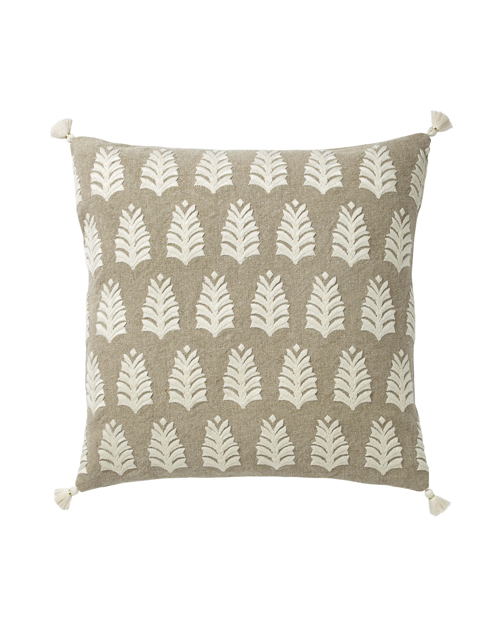 Whitley Embroidered Pillow Cover, Flax