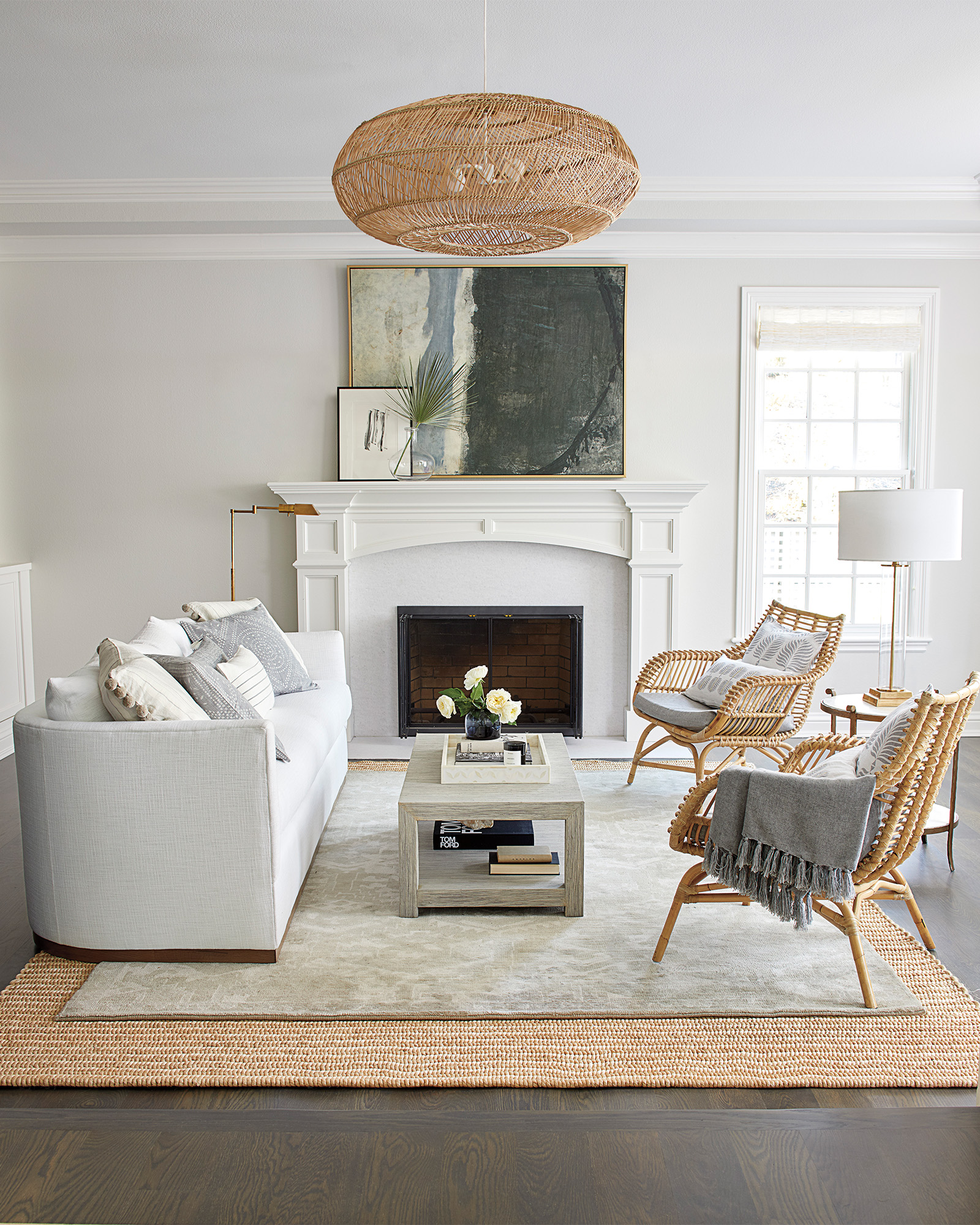 White, chic, and breezy serene coastal living room with Serena & Lily Parkwood Collection. Best of Late Summer 2019 on Hello Lovely...in case you're in the mood for decor inspiration.