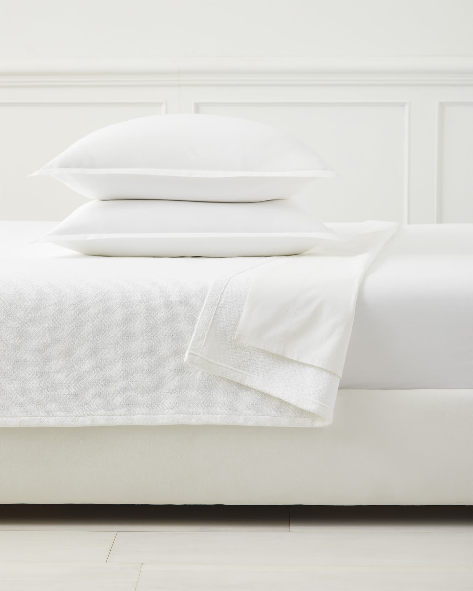 Brahms Mount Herringbone Bed Blanket, White
