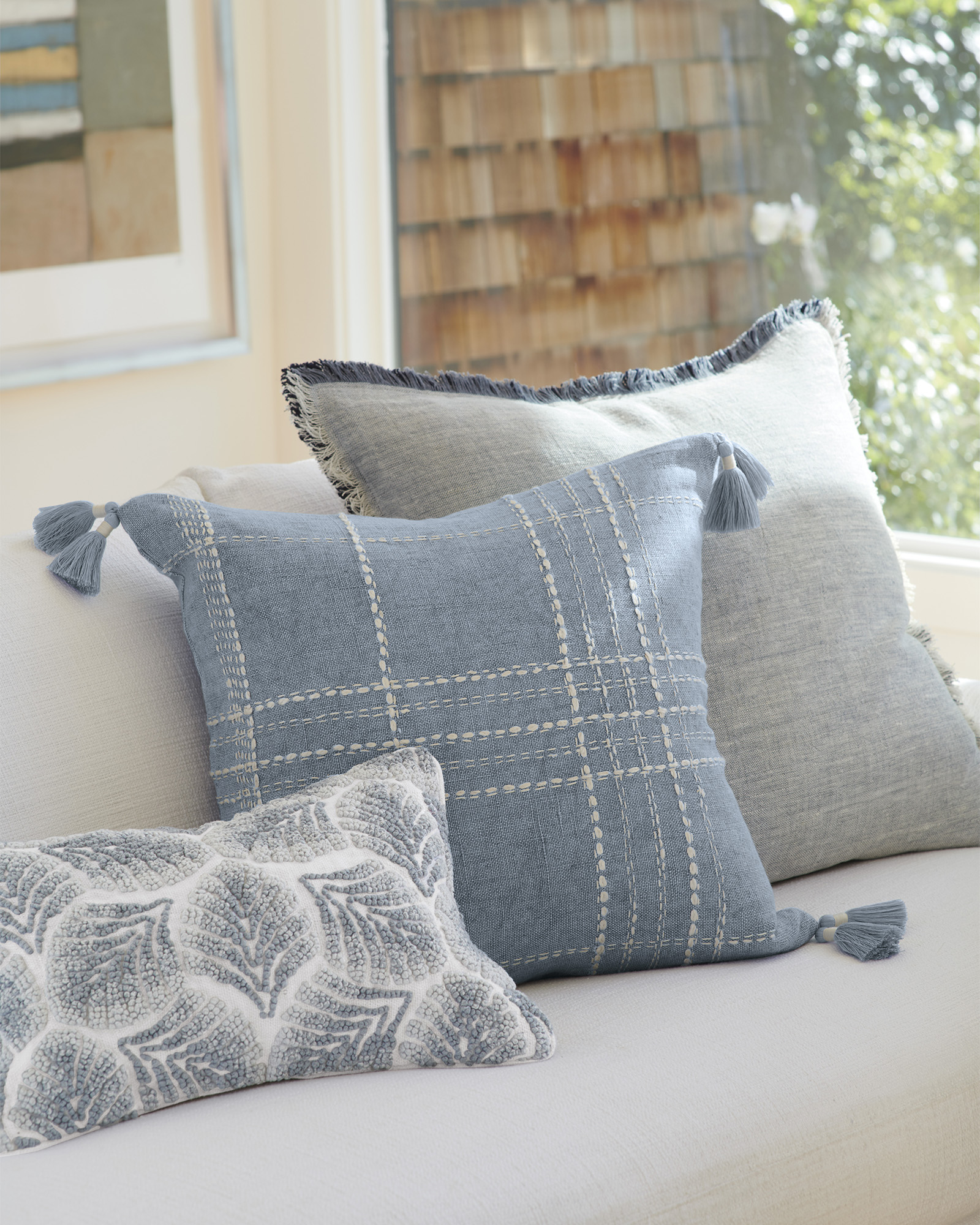 Avalis Pillow cover, Serena & Lily.  French Farmhouse Decor on Fixer Upper Get the Look The Club House Family Room with Shopping Resources as well as Design Ideas.