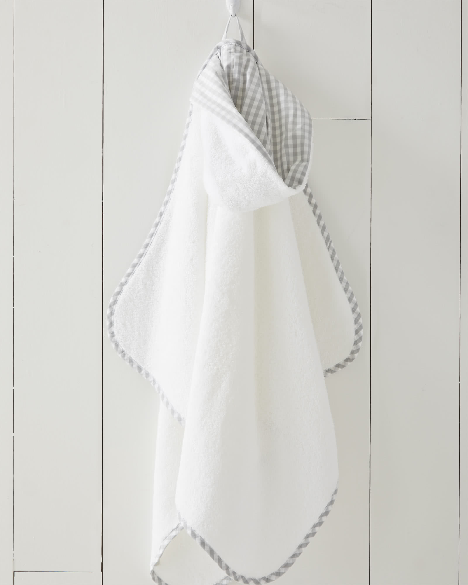 Gingham Banded Hooded Towel,