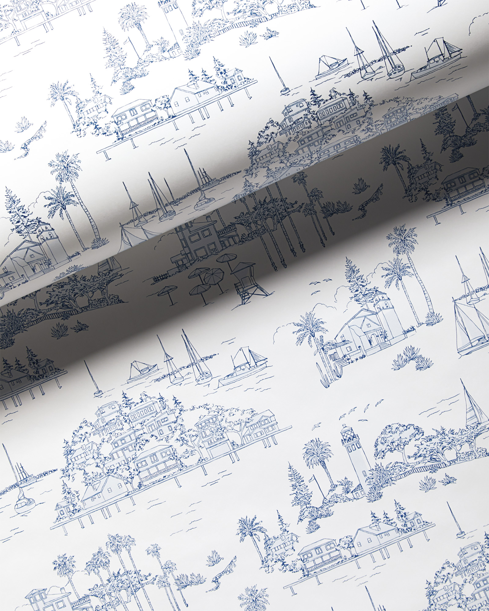 Seahaven Toile Wallpaper, French Blue/White