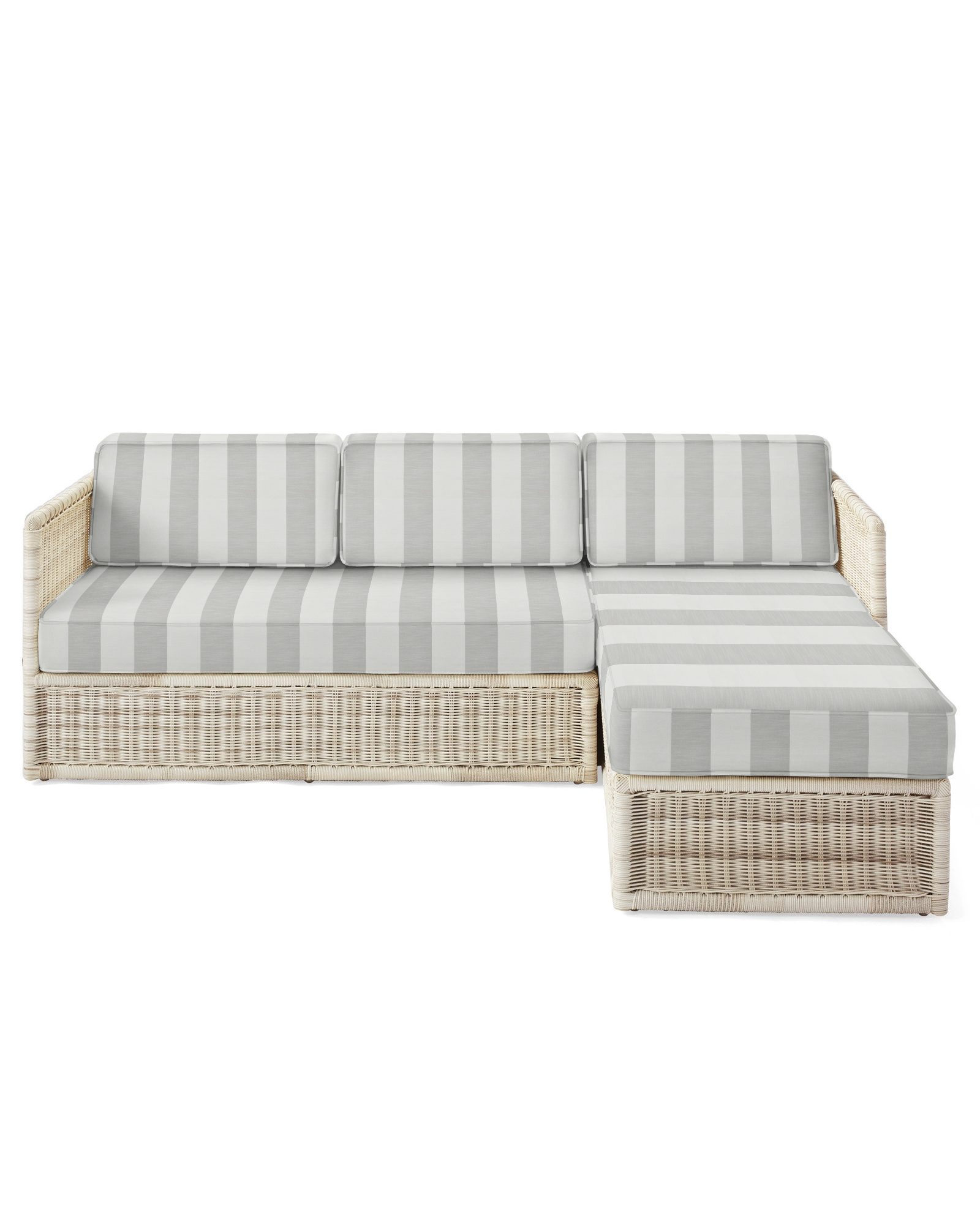Cushion Cover for Pacifica Chaise Sectional, Beach Stripe Smoke