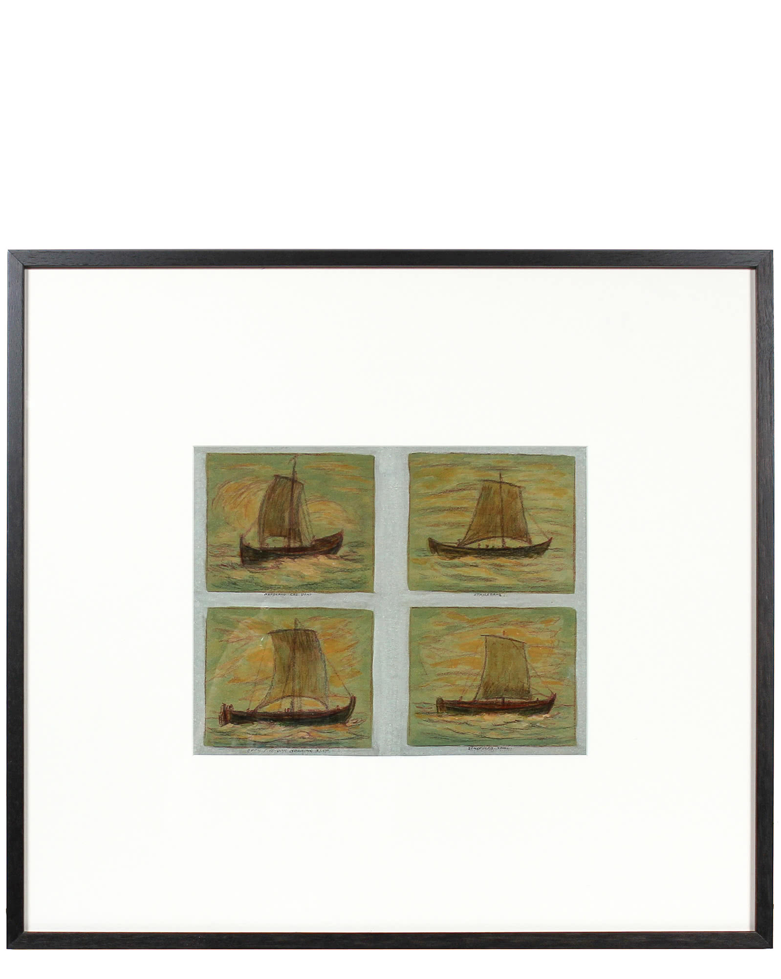 """""""Four Boats at Sea"""" by Unidentified,"""