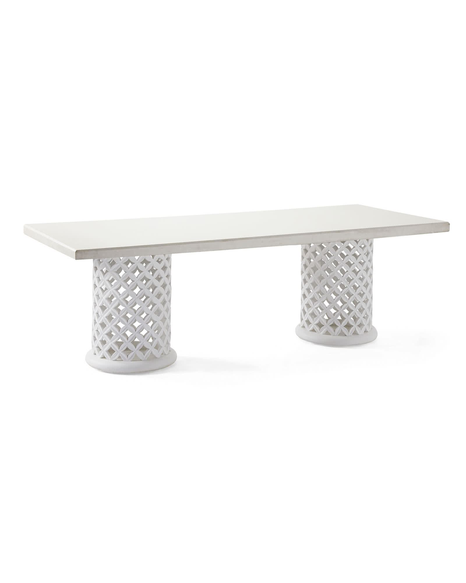 Bamileke Rectangular Dining Table, White/White