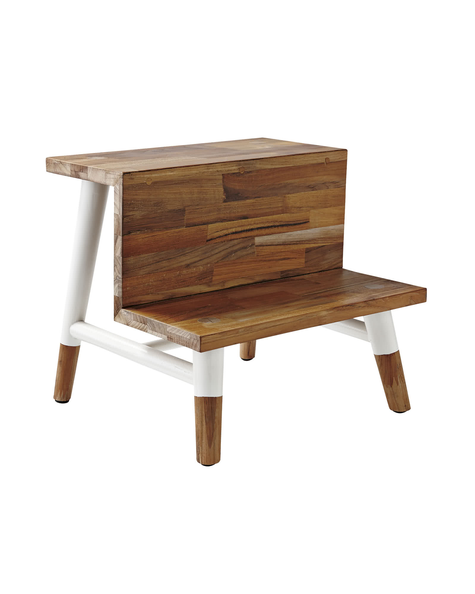 Teak Step Stool, White