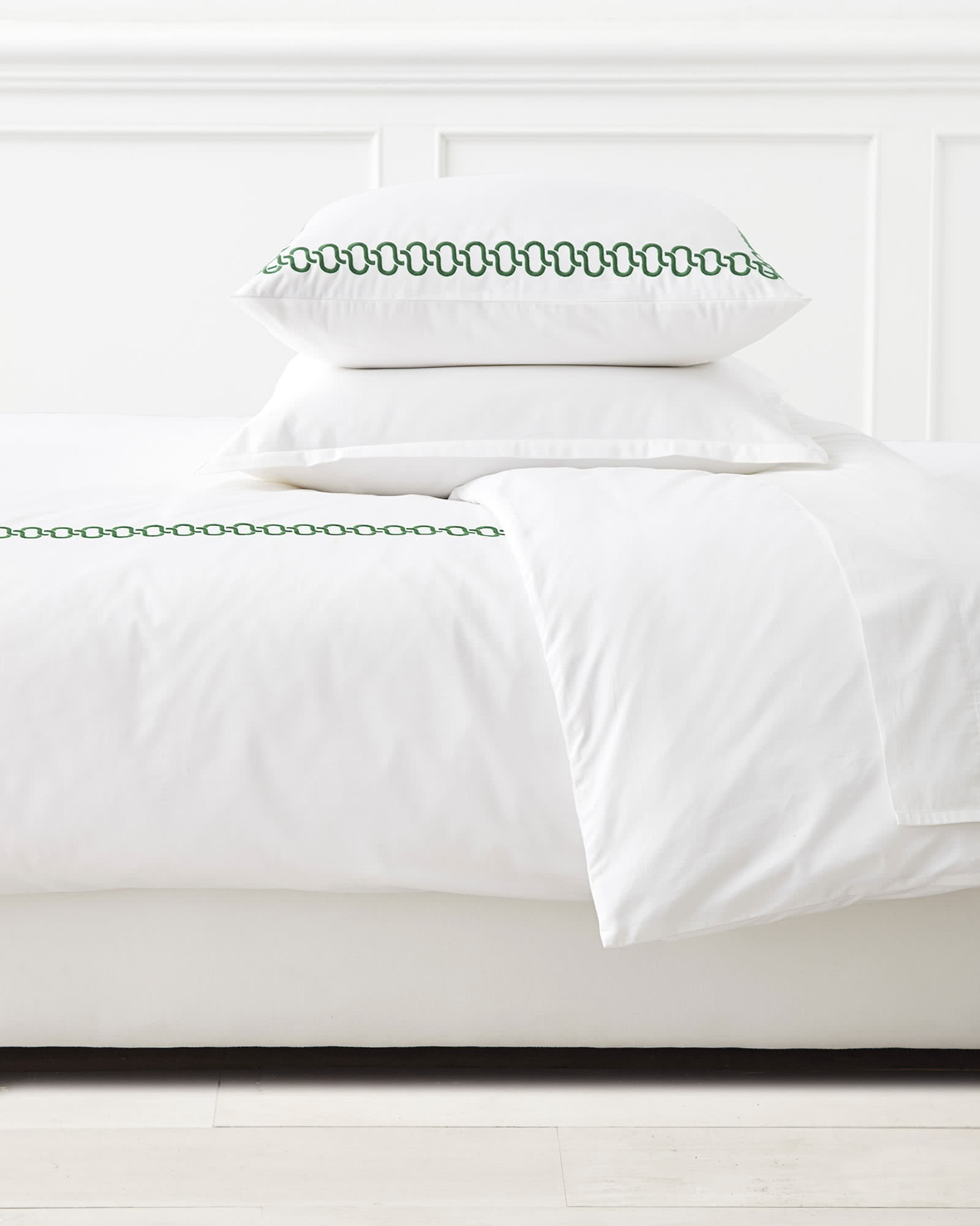 Savoy Embroidered Duvet Cover, Palm Green