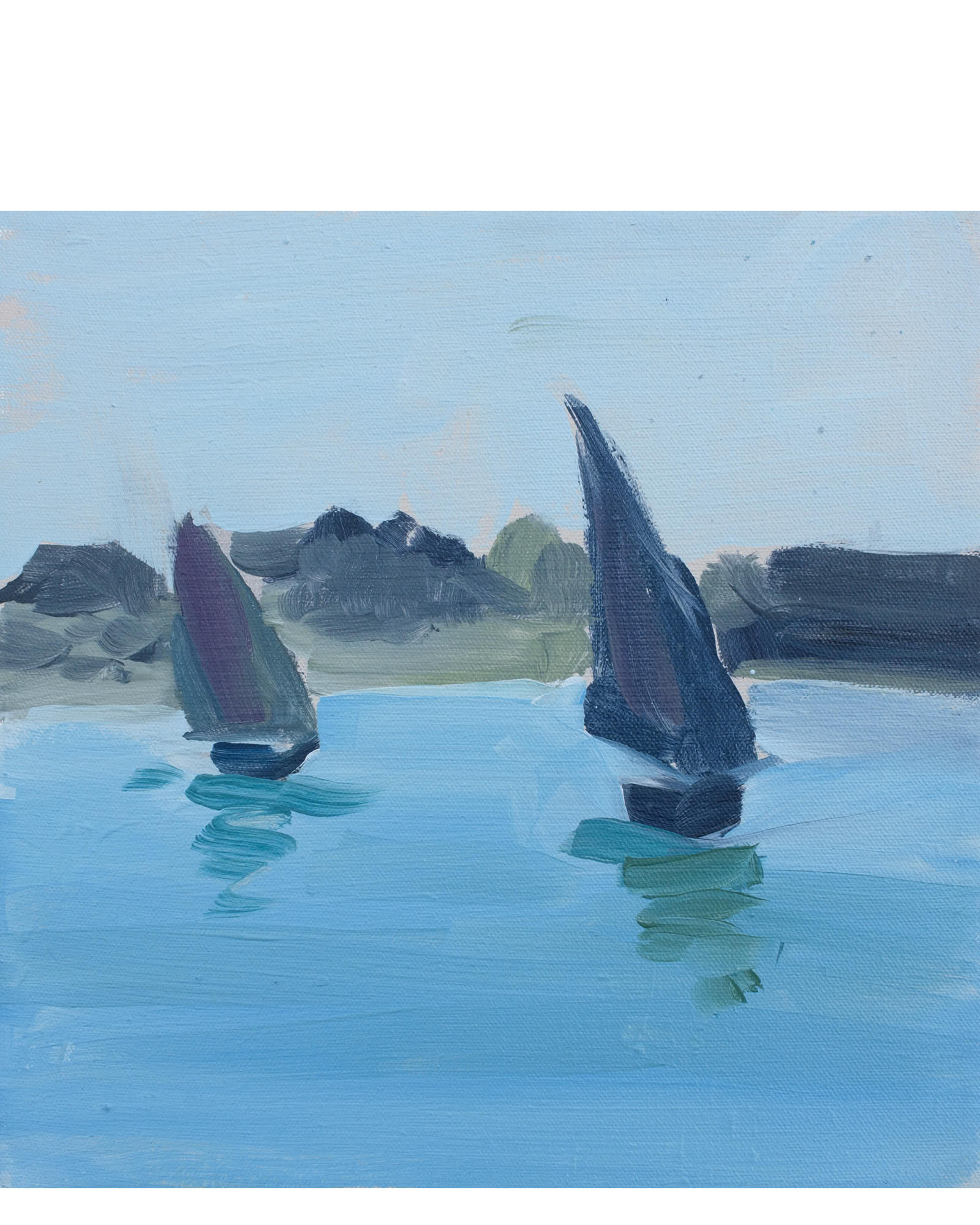 """Two Sailboats with Royal Blue and Red Violet"" by Isabel Vexin,"