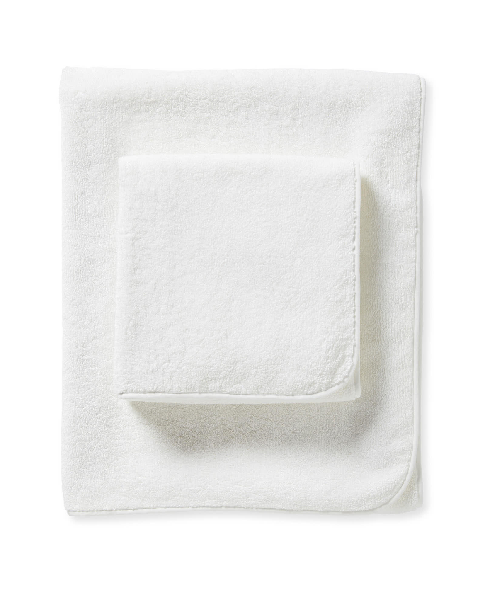 Banded Border Bath Collection, White