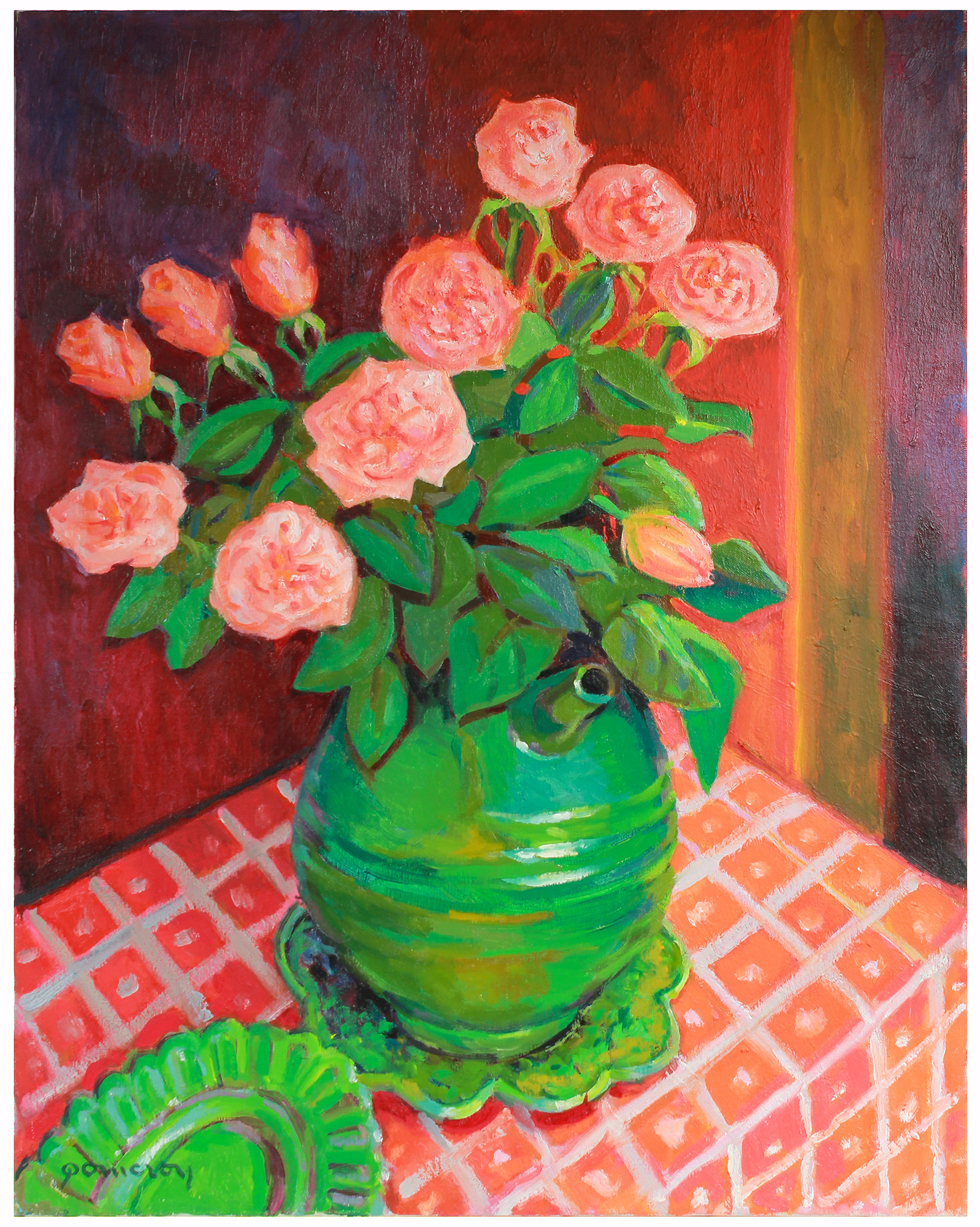 """""""Roses in a Green Vase"""" by Frederick Pomeroy,"""