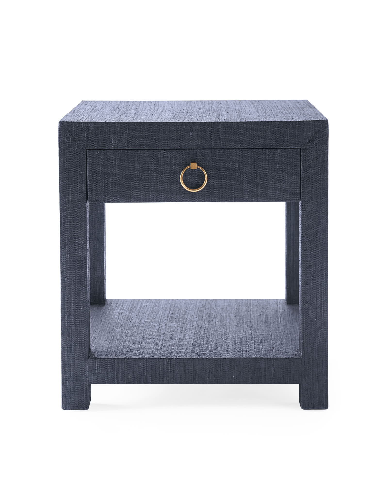 Blake Raffia 1-Drawer Nightstand, Indigo