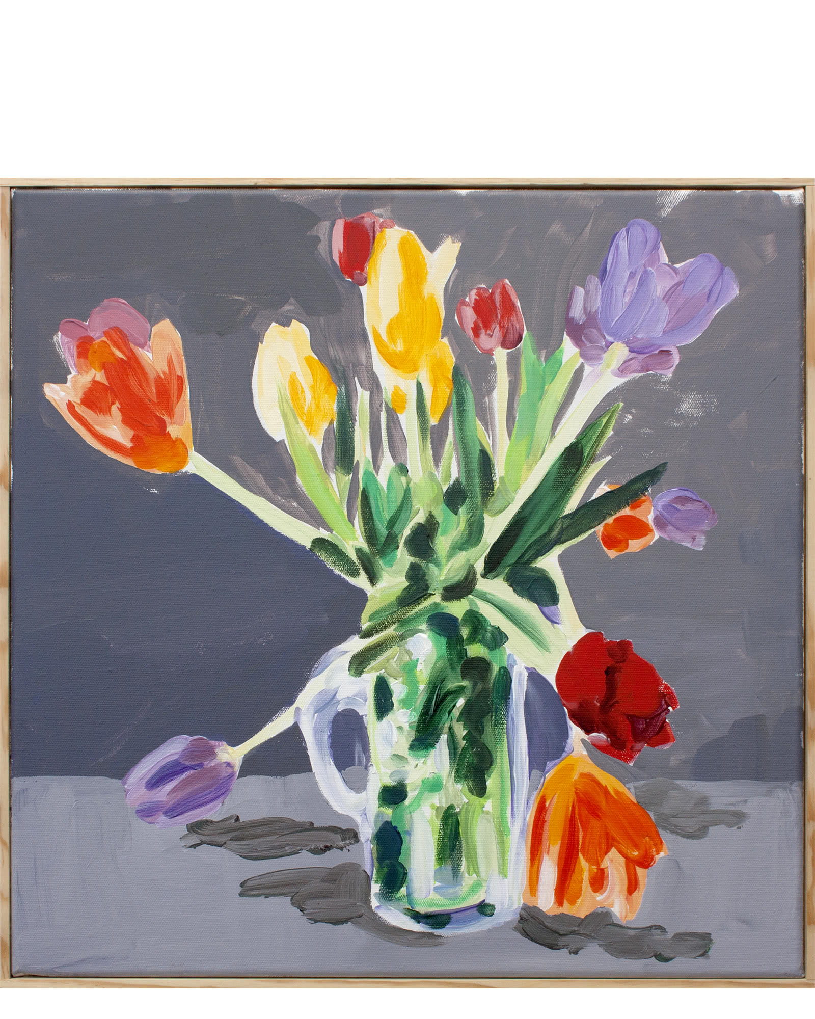 """""""Spring Tulips on Opaline Grey """" by Isabel Vexin,"""
