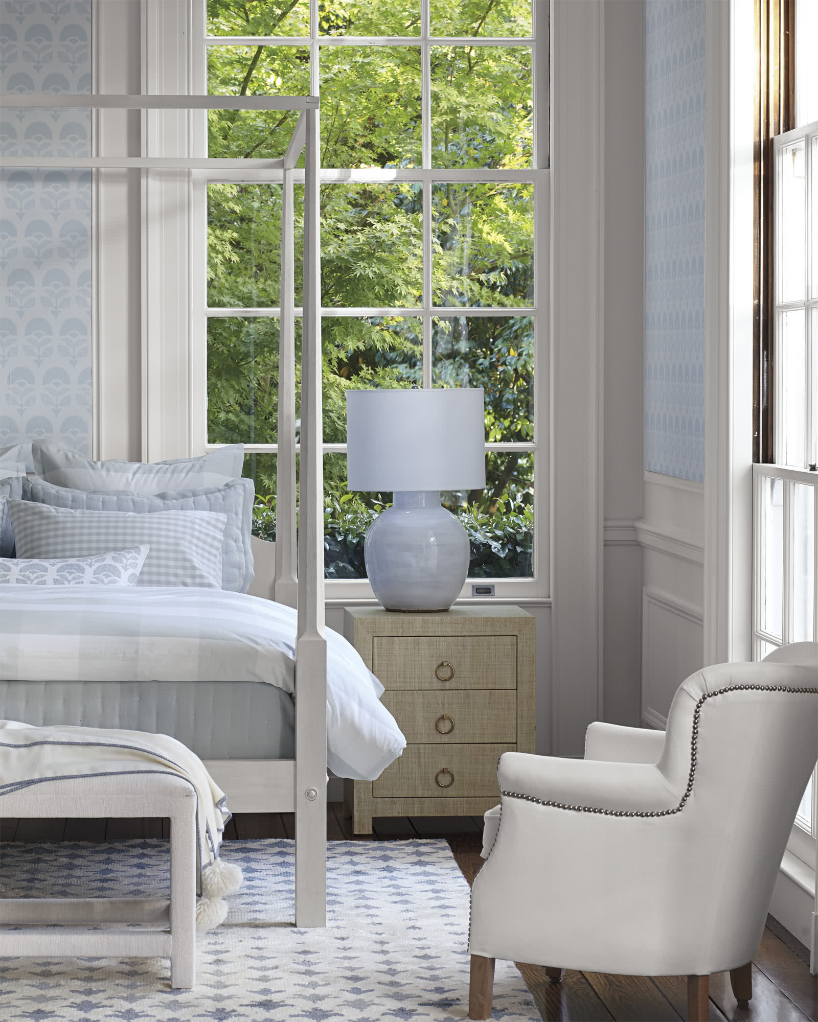 Romantic light blue and white classic coastal bedroom with Gingham Duvet Cover in light blue and white.