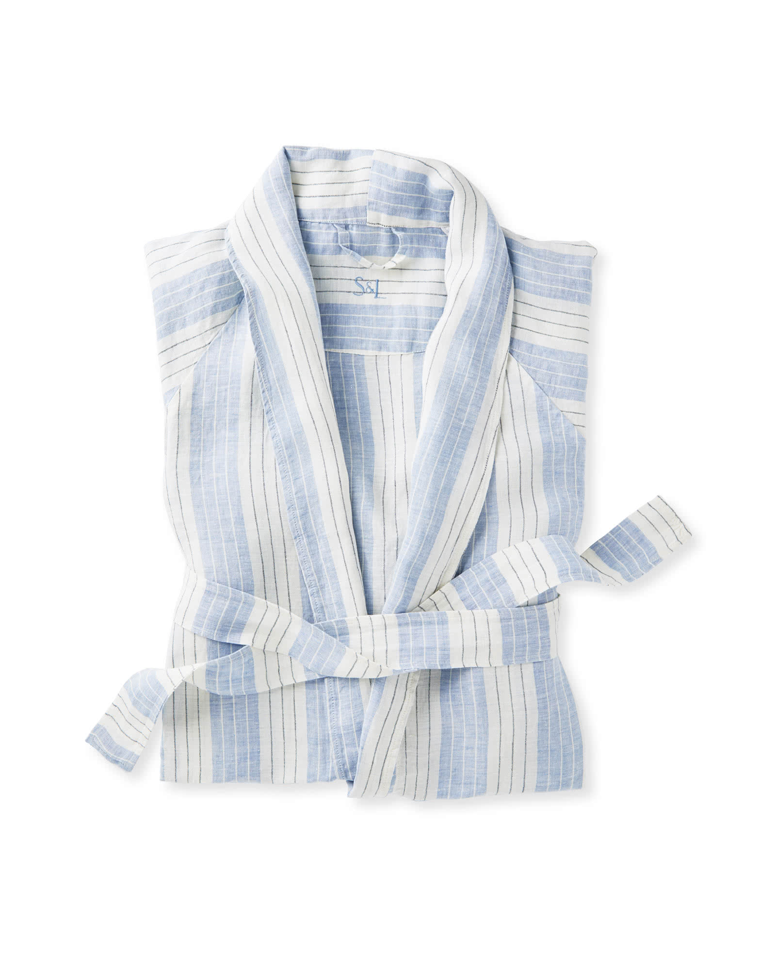 Serena & Lily Porto Linen Robe in chambray and white stripes