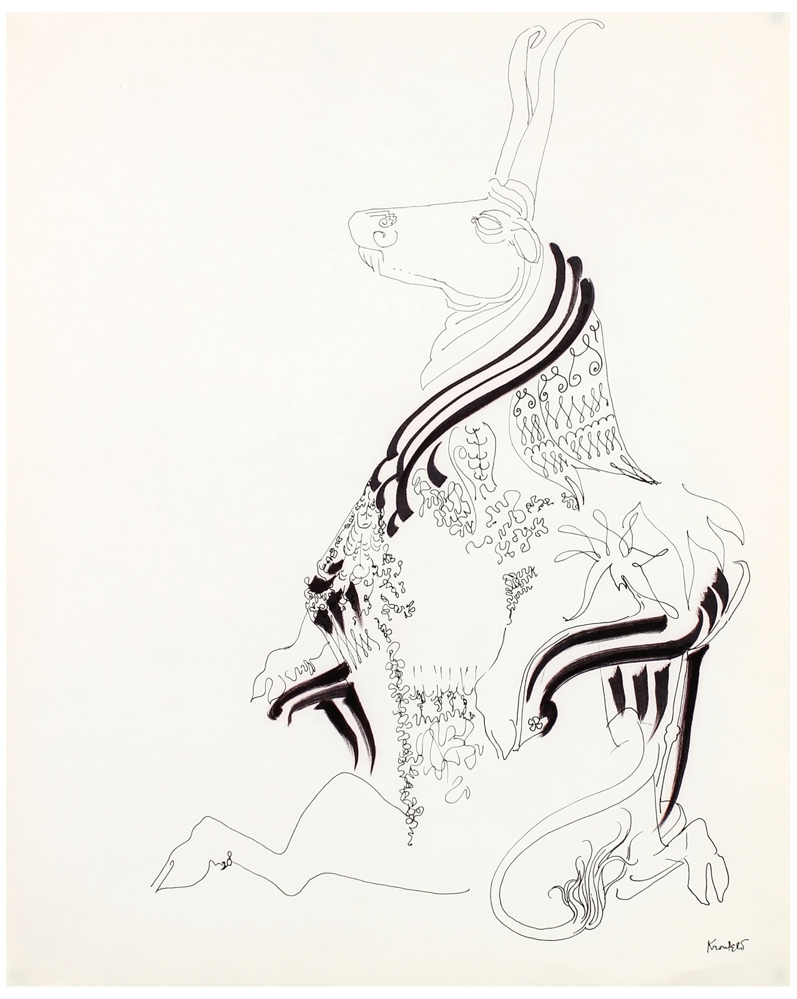 """Majestic Cloaked Antelope""  by Morris Kronfeld ,"