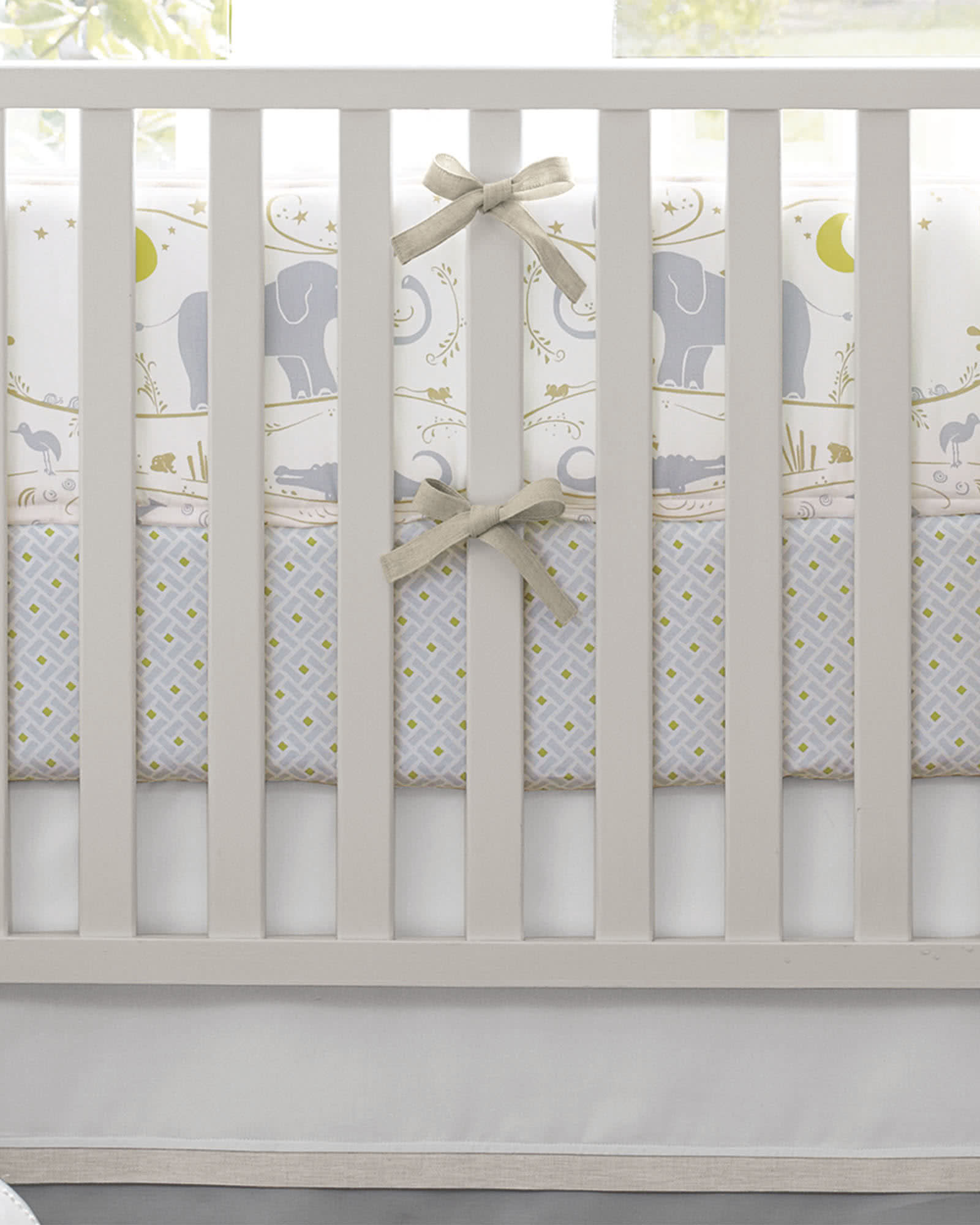 chic floral caden and white products crib bumpers coral boho closeup lane