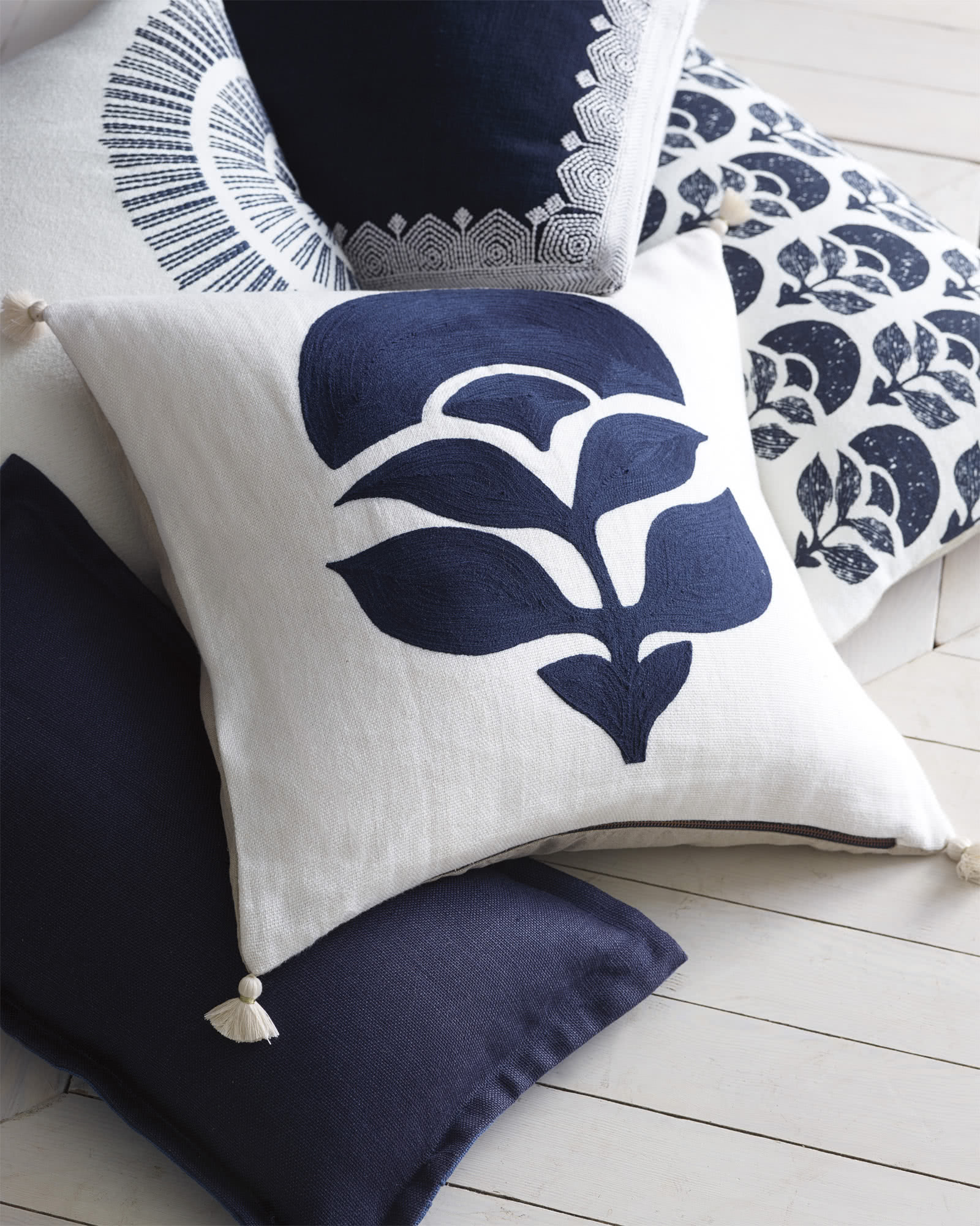 Larkspur Embroidered Pillow Cover,