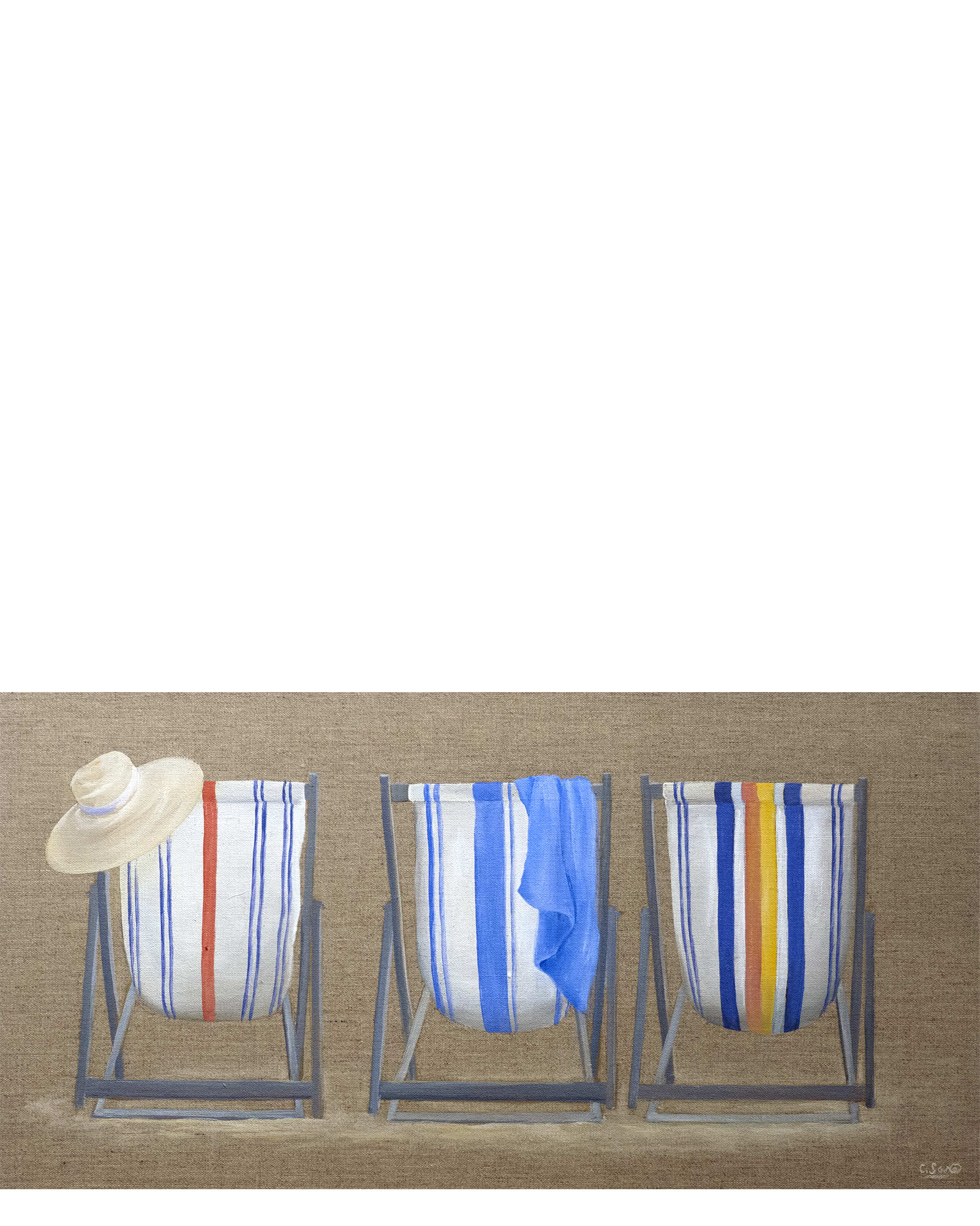 """""""Deck Chairs on Linen"""" by Carol Saxe"""