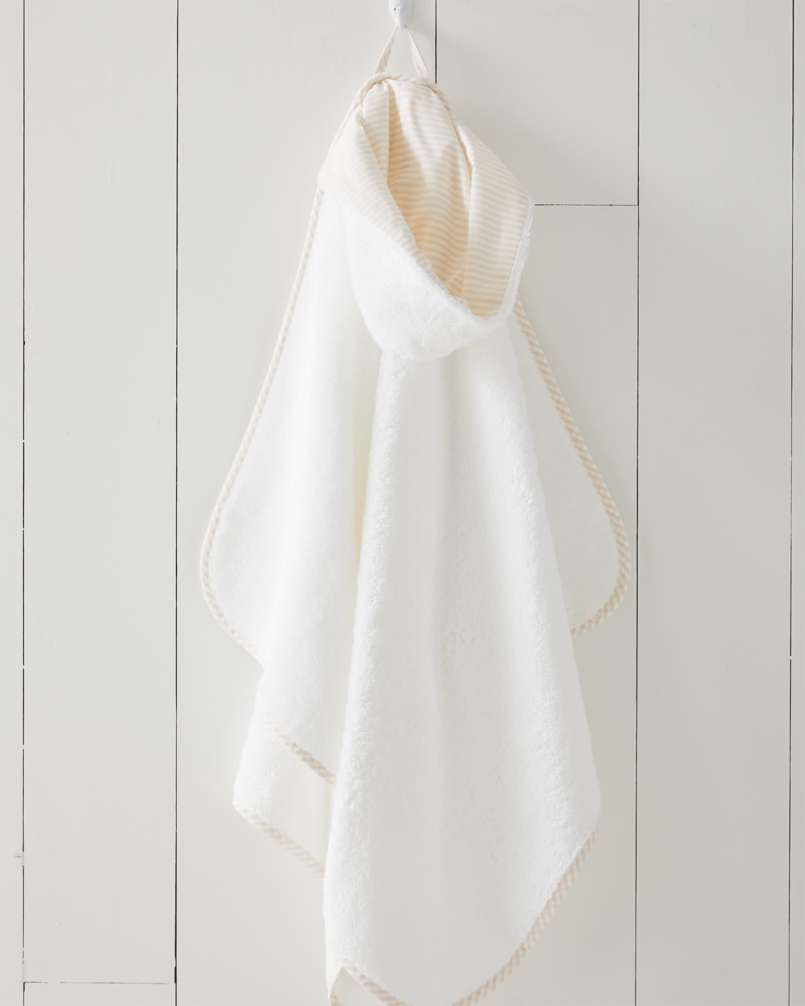 Oxford Banded Hooded Towel, Pink Sand