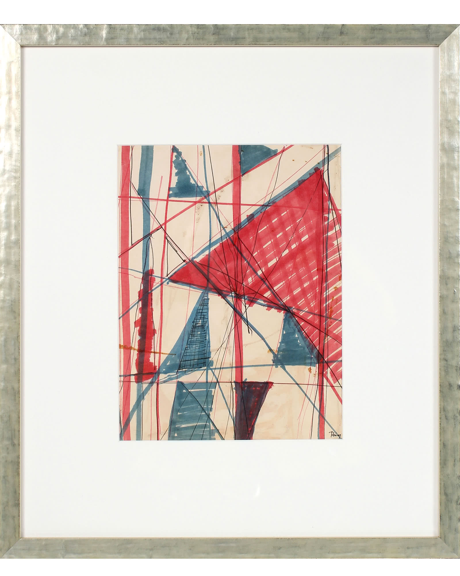 """Red & Blue Triangular Abstract"" by Raphael Roig,"