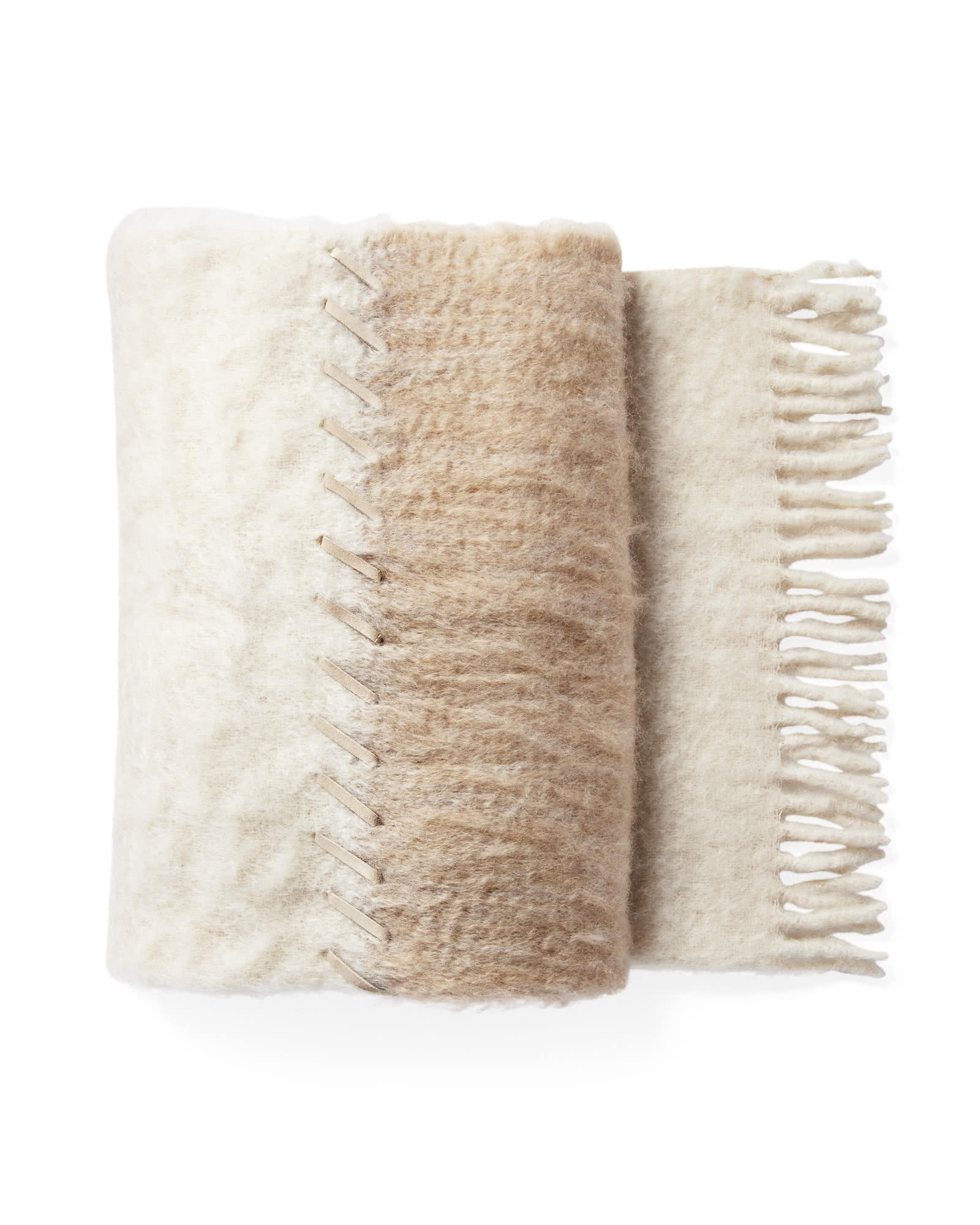 Whipstitch Mohair Throw, Caramel