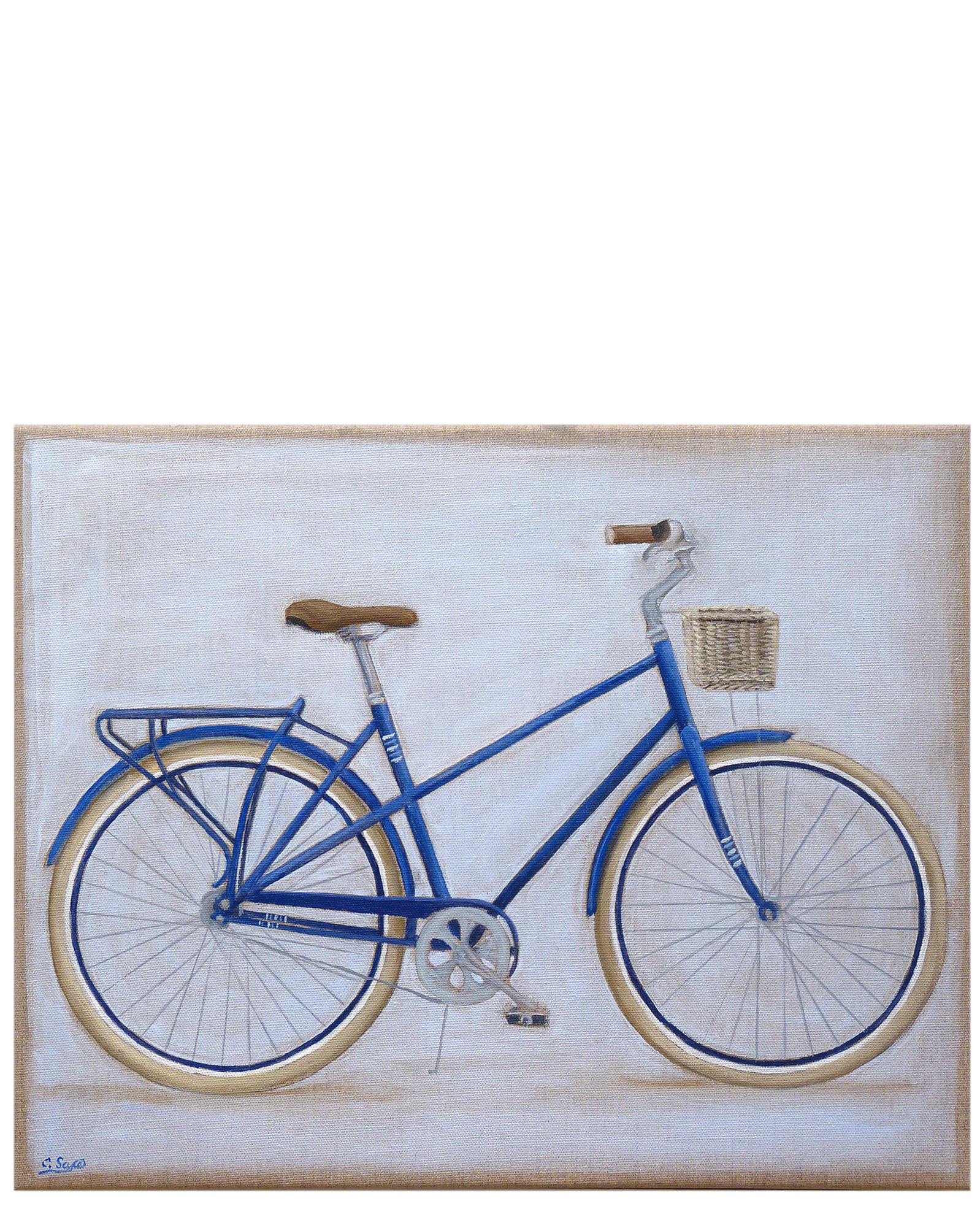 """"""" Bike with Basket on Linen"""" by Carol Saxe,"""