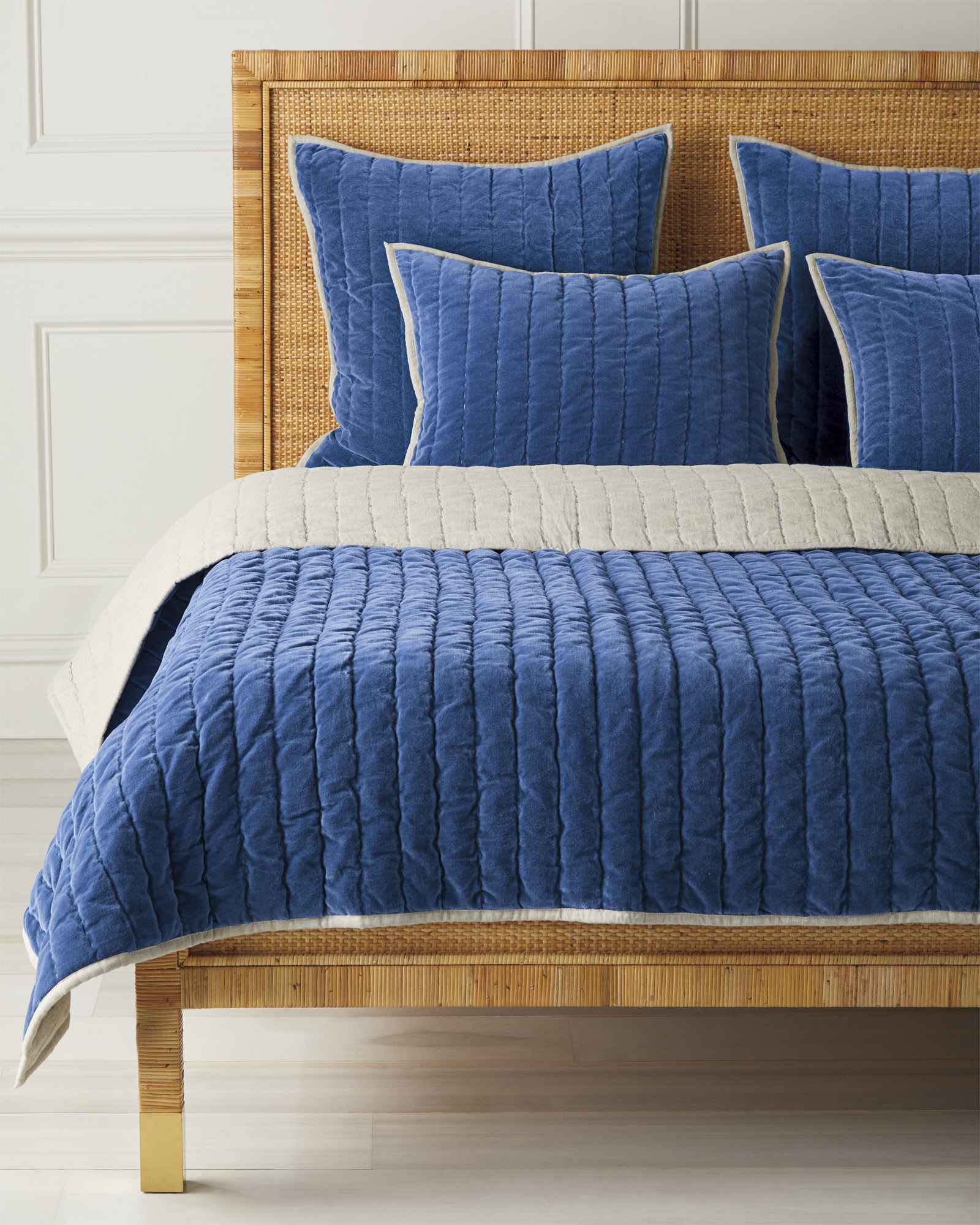 Delwood Velvet Quilt, French Blue