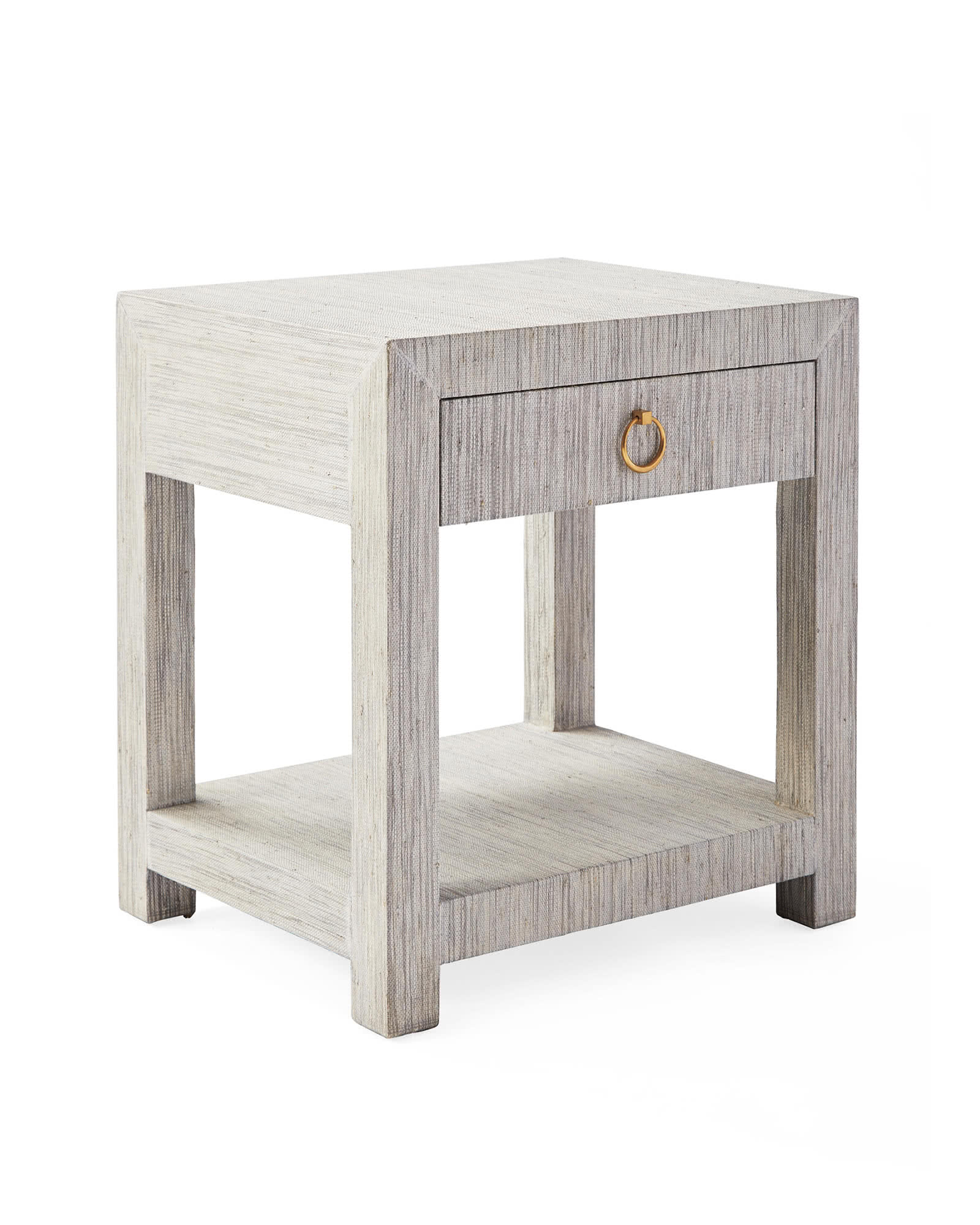 Blake Raffia 1-Drawer Nightstand, Fog
