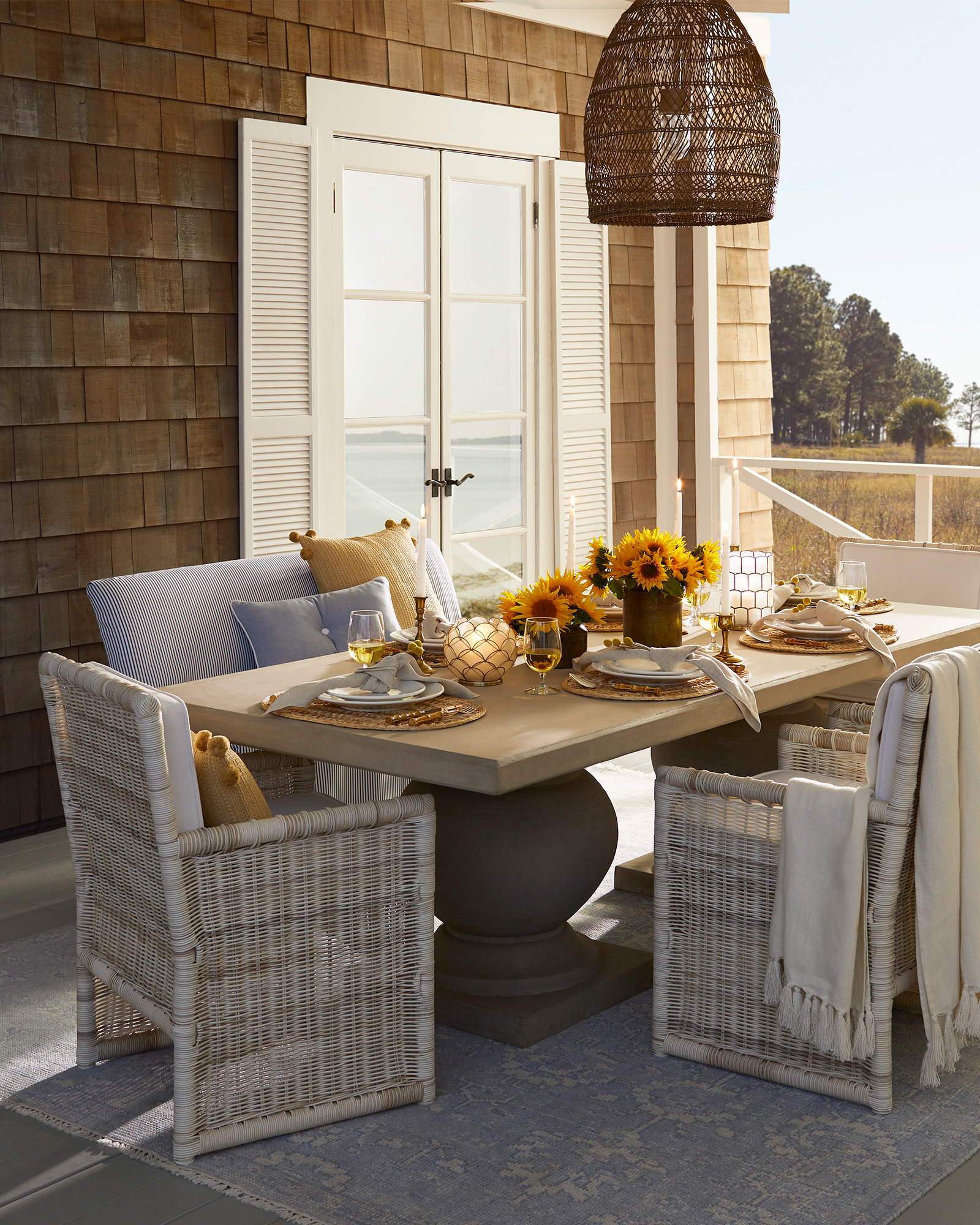 Sundial Outdoor Dining Bench - Slipcovered,