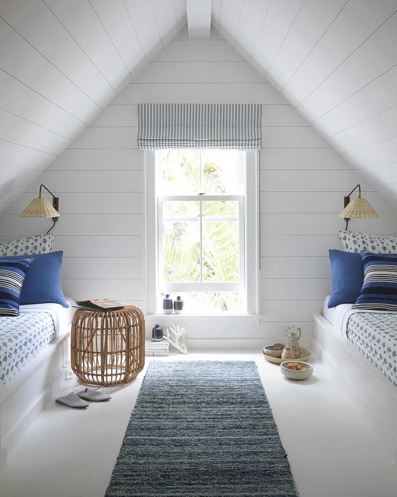 White and blue coastal bedroom with captains beds and shiplap - Serena & Lily. #coastalstyle #shiplap #bedroomdesign #interiordesign