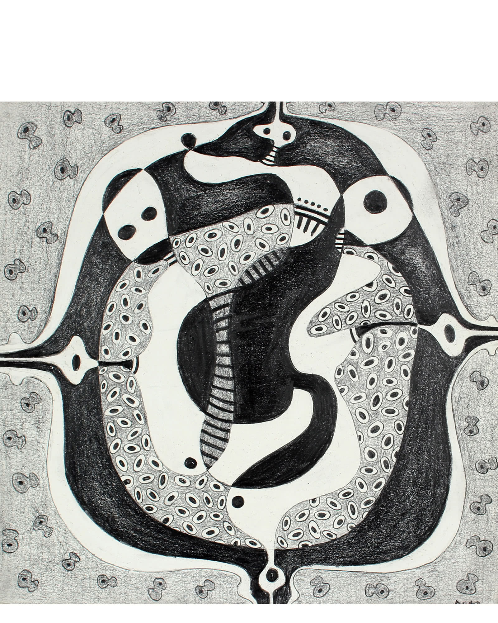 """""""Monochromatic Abstract in Graphite"""" by Jane Mitchell,"""