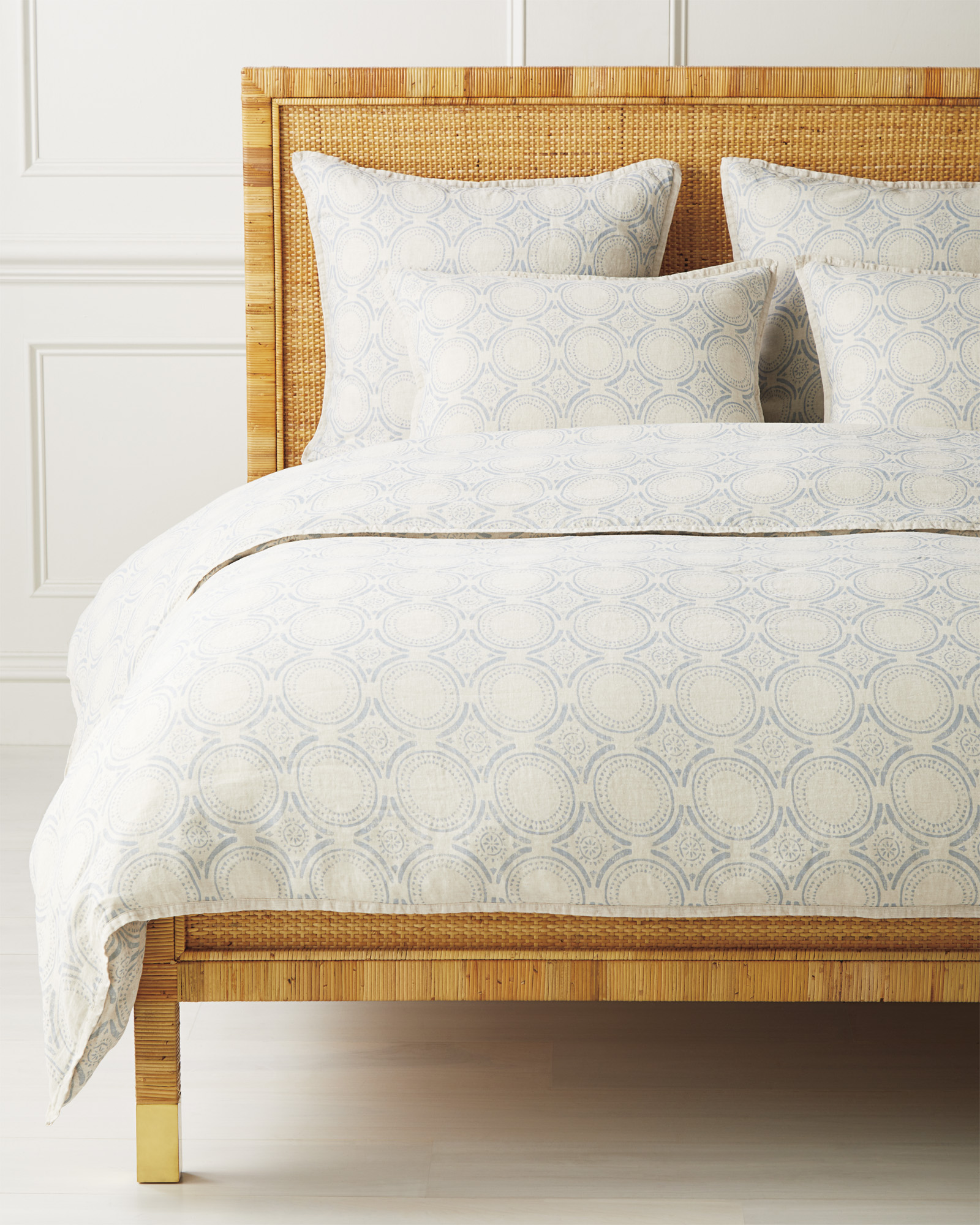 Cavallo Tile Duvet Cover, Flax Chambray
