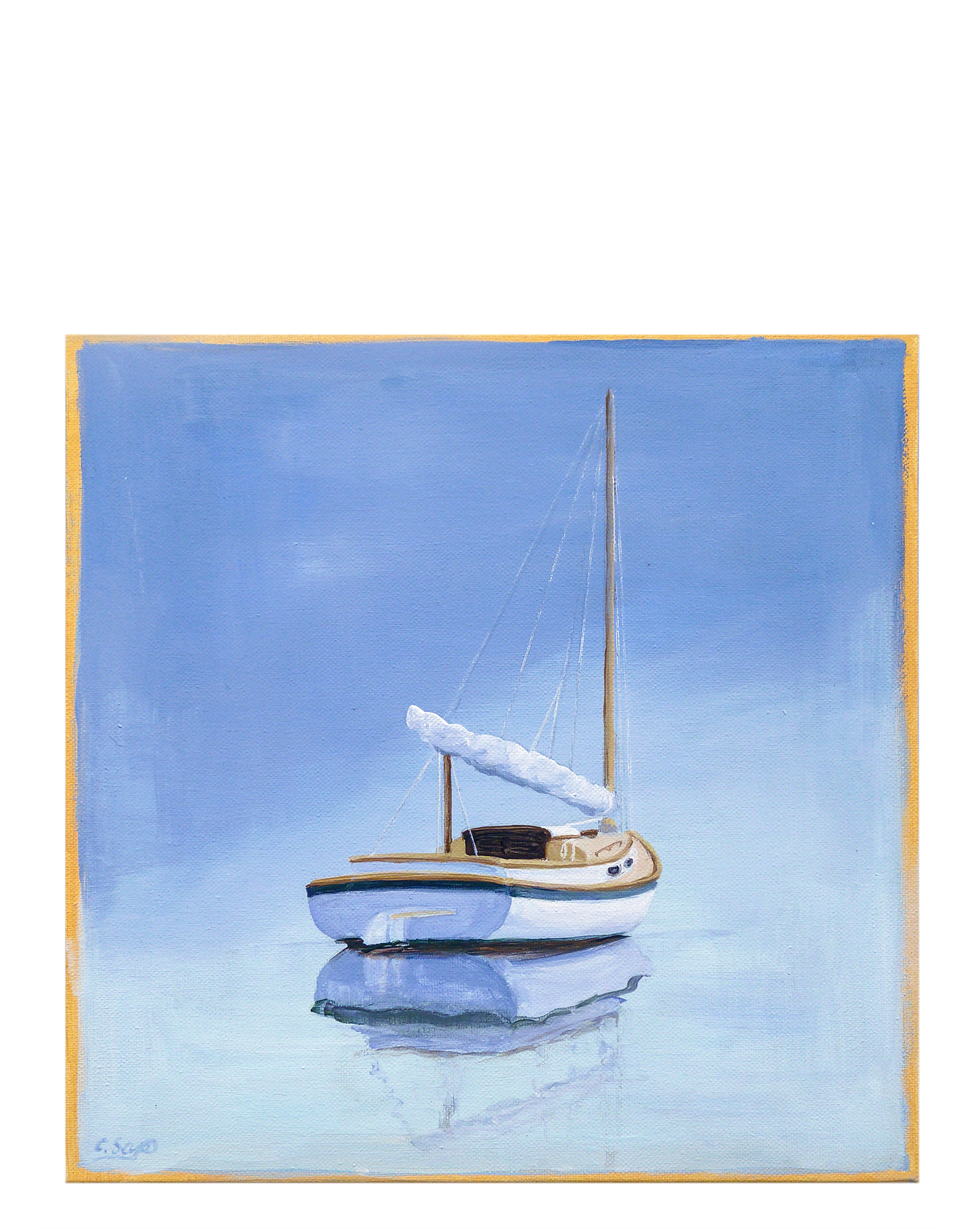 """Classic Cat at Anchor"""" by Carol Saxe,"""