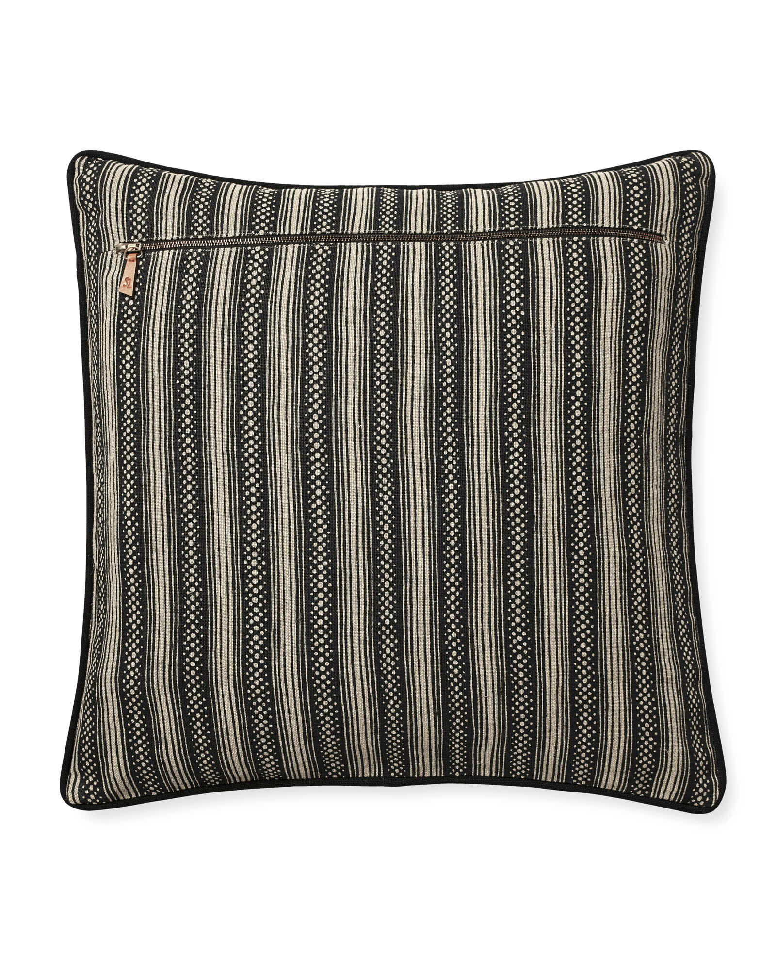 Stowe Pillow Cover, Flax/Black