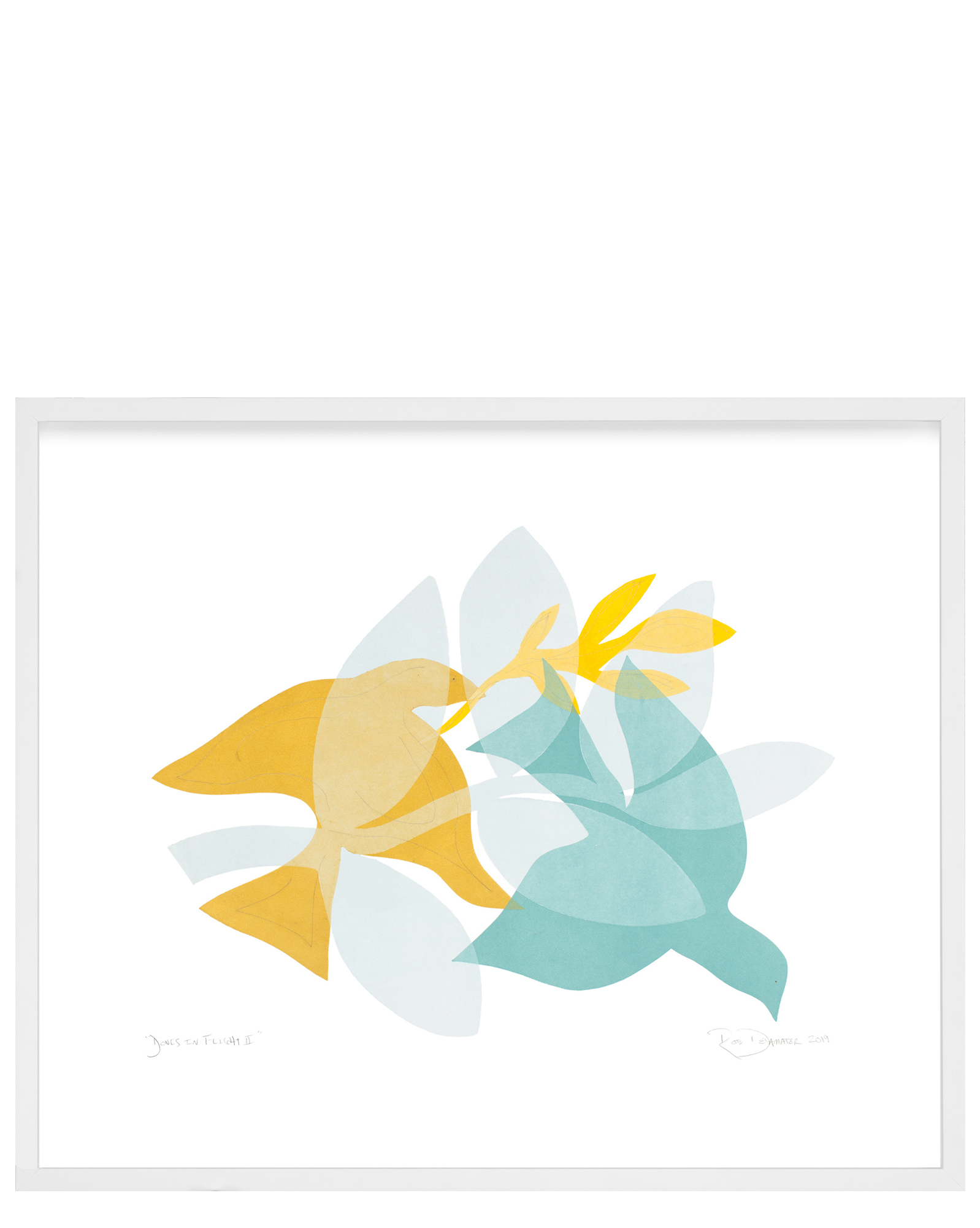 """Doves in Flight II"" by Rob Delamater, White Frame"