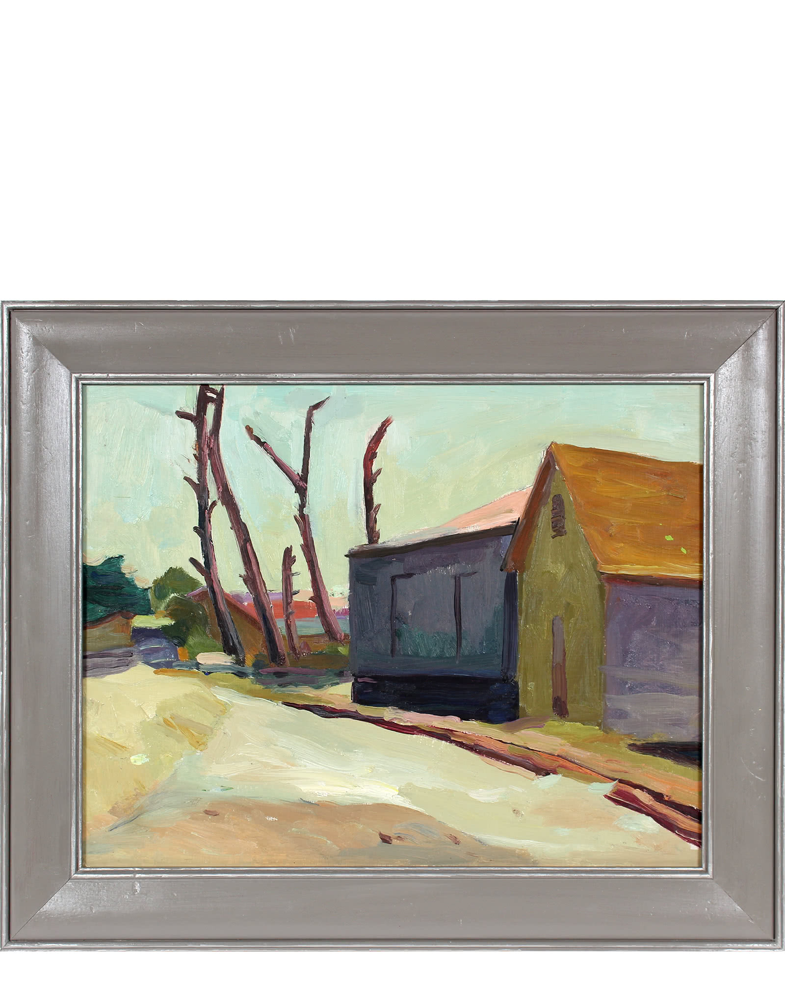 """""""House and Trees, Oil on Canvas City Scene"""" by Frederick Pomeroy,"""
