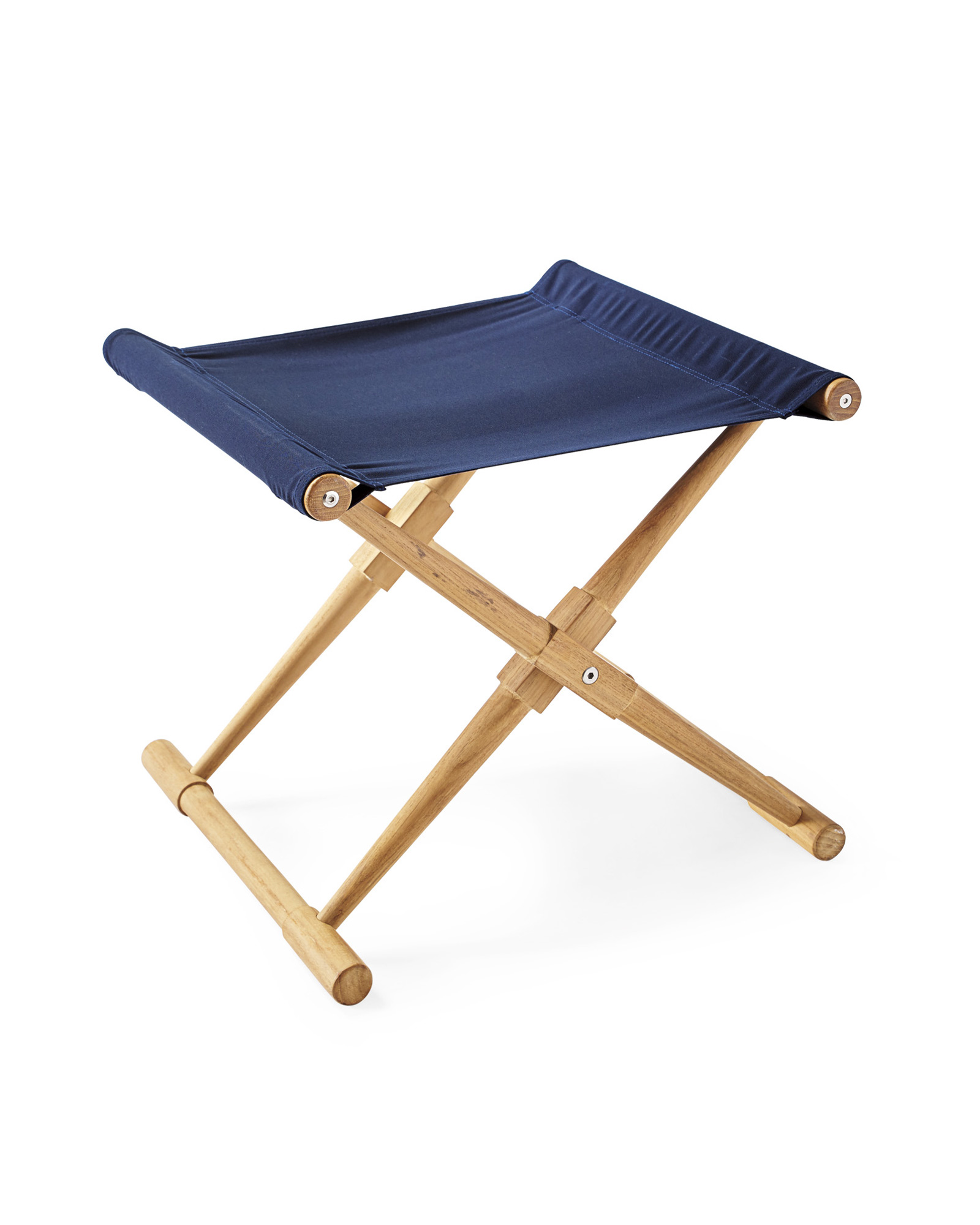 Teak Camp Stool, Navy