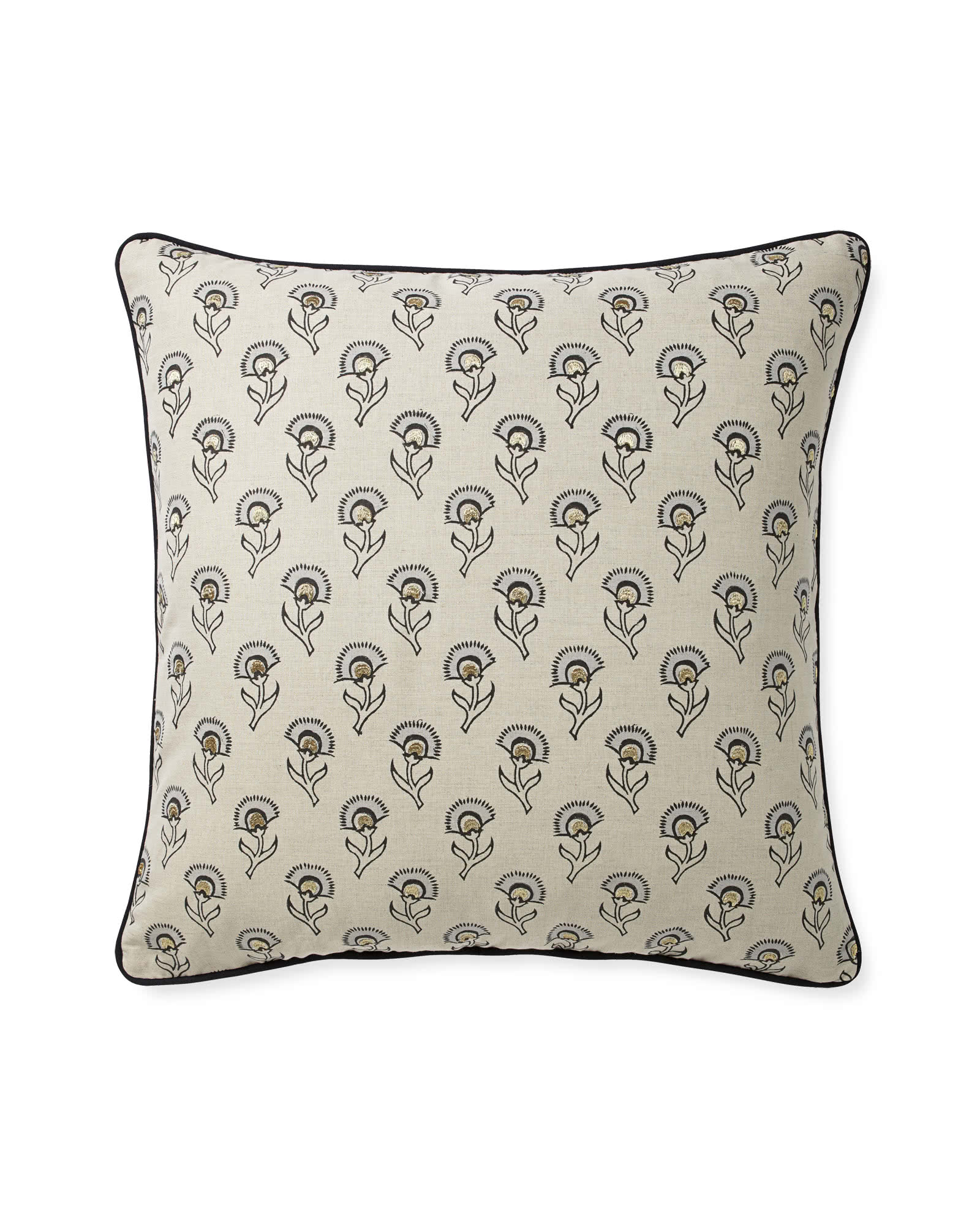 Hazel Pillow Cover, Metallic/Black