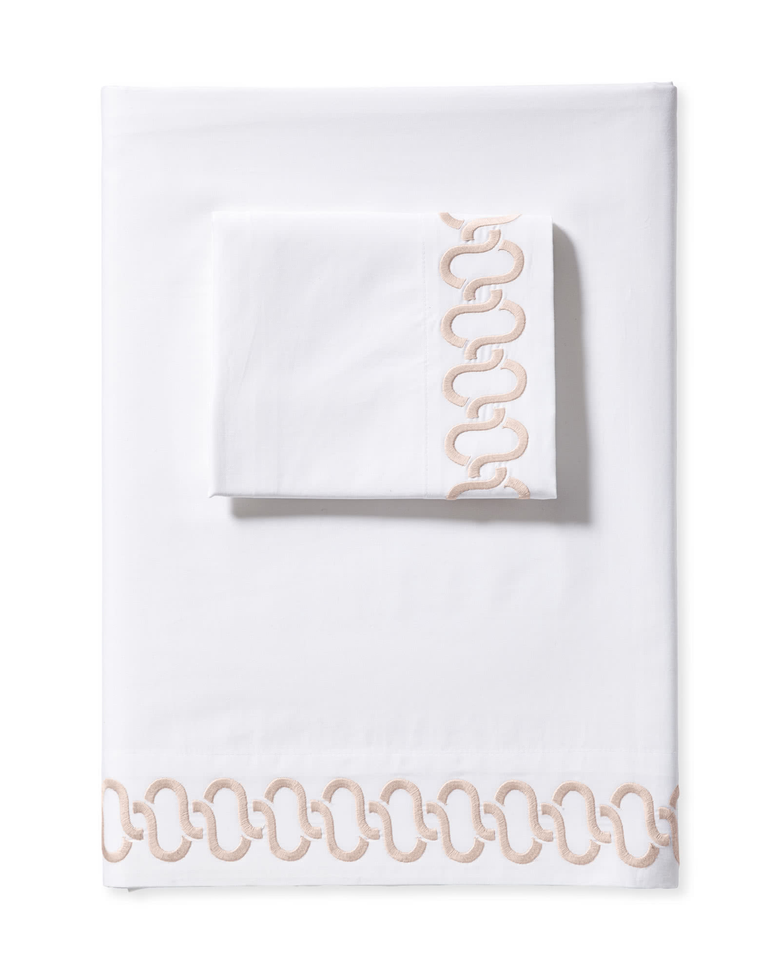 Savoy Embroidered Sheet Set, Pink Sand