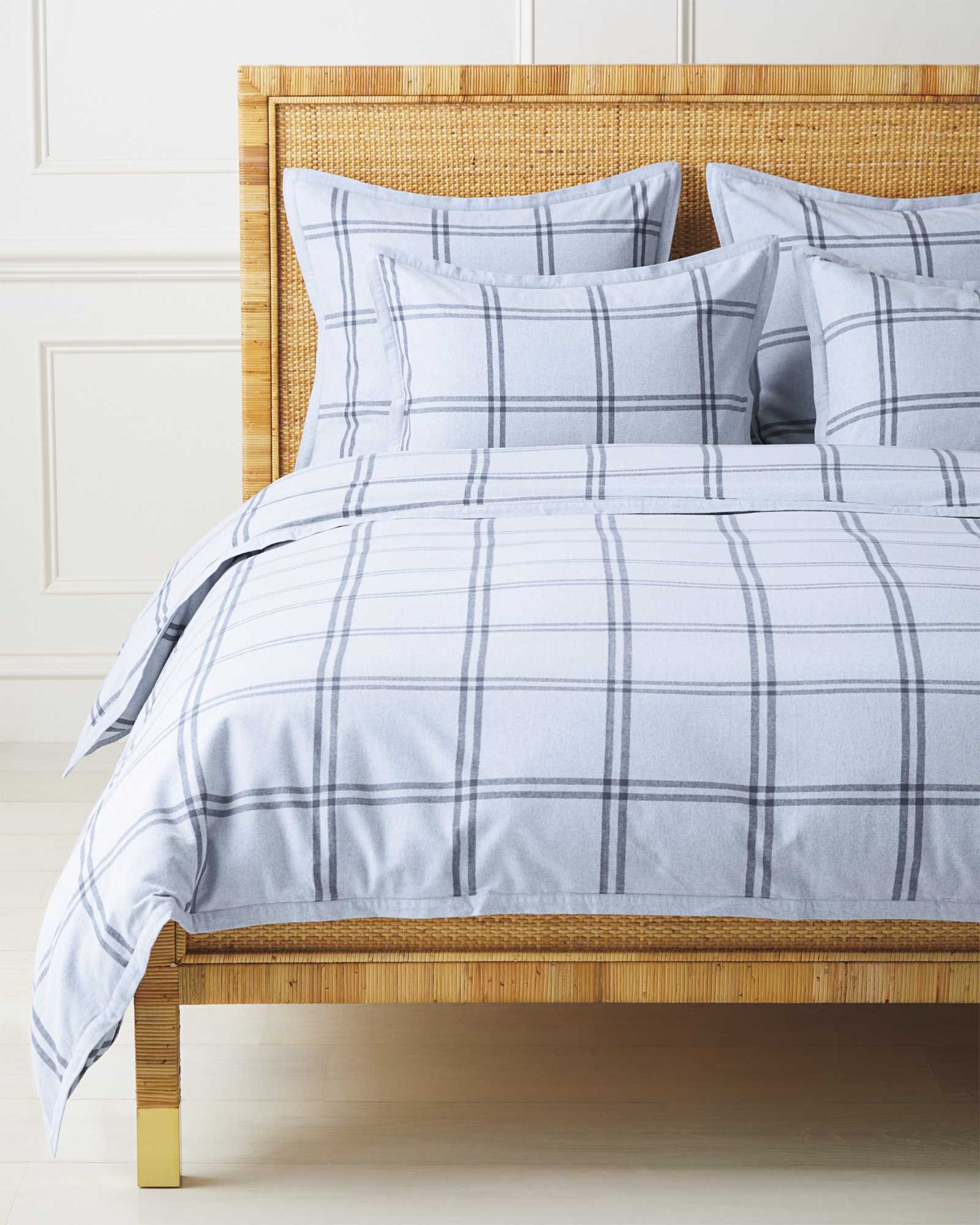 Alpine Flannel Duvet Cover, Chambray/Indigo