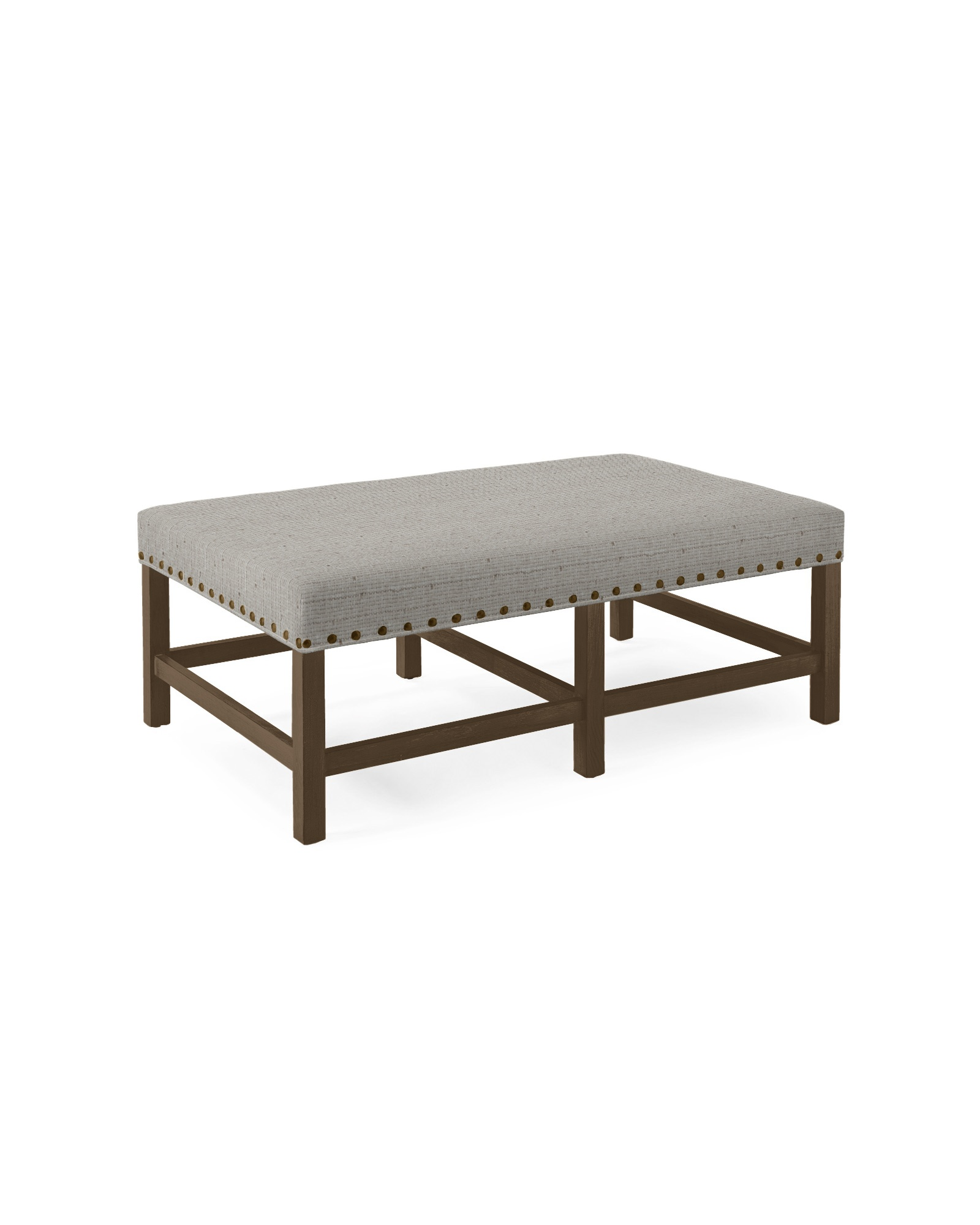 Small Clement Bench with Nailheads - Raffia Fog,